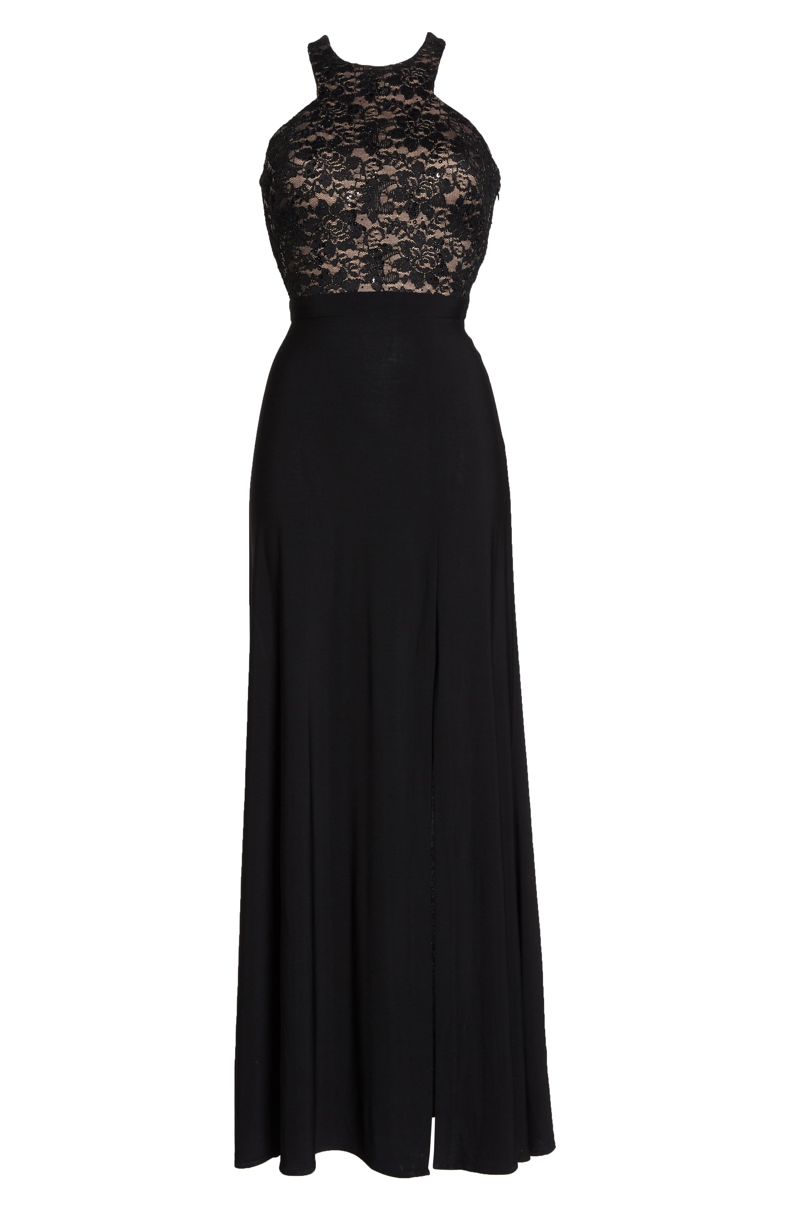 Lace Bodice Strappy Gown,                             Alternate thumbnail 7, color,