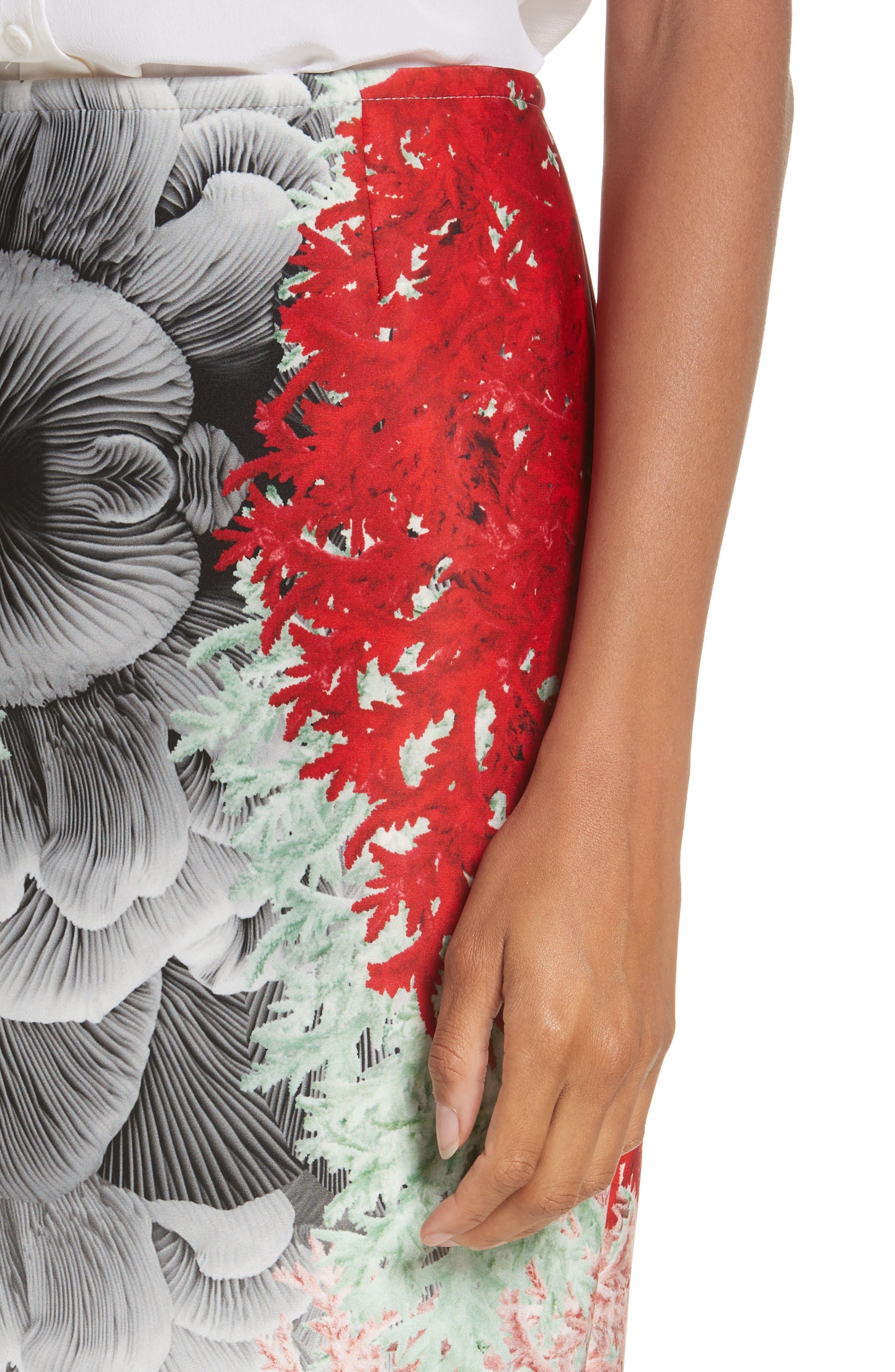 Coral Print Scuba Pencil Skirt,                             Alternate thumbnail 4, color,                             650