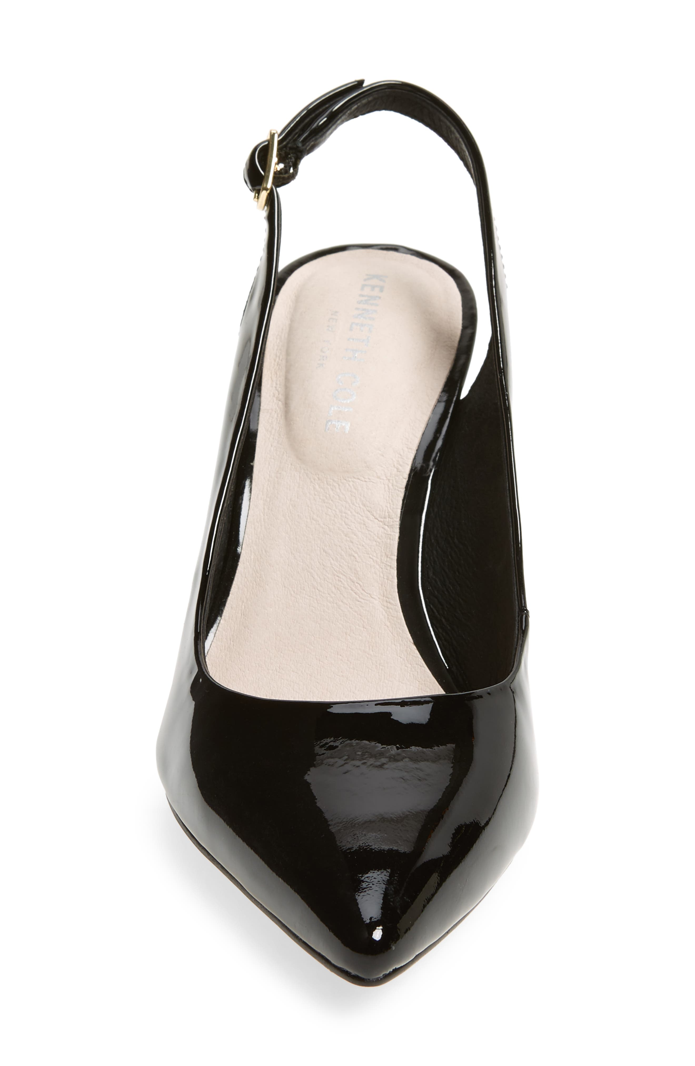 KENNETH COLE NEW YORK,                             Riley 85 Slingback Pump,                             Alternate thumbnail 4, color,                             BLACK PATENT LEATHER