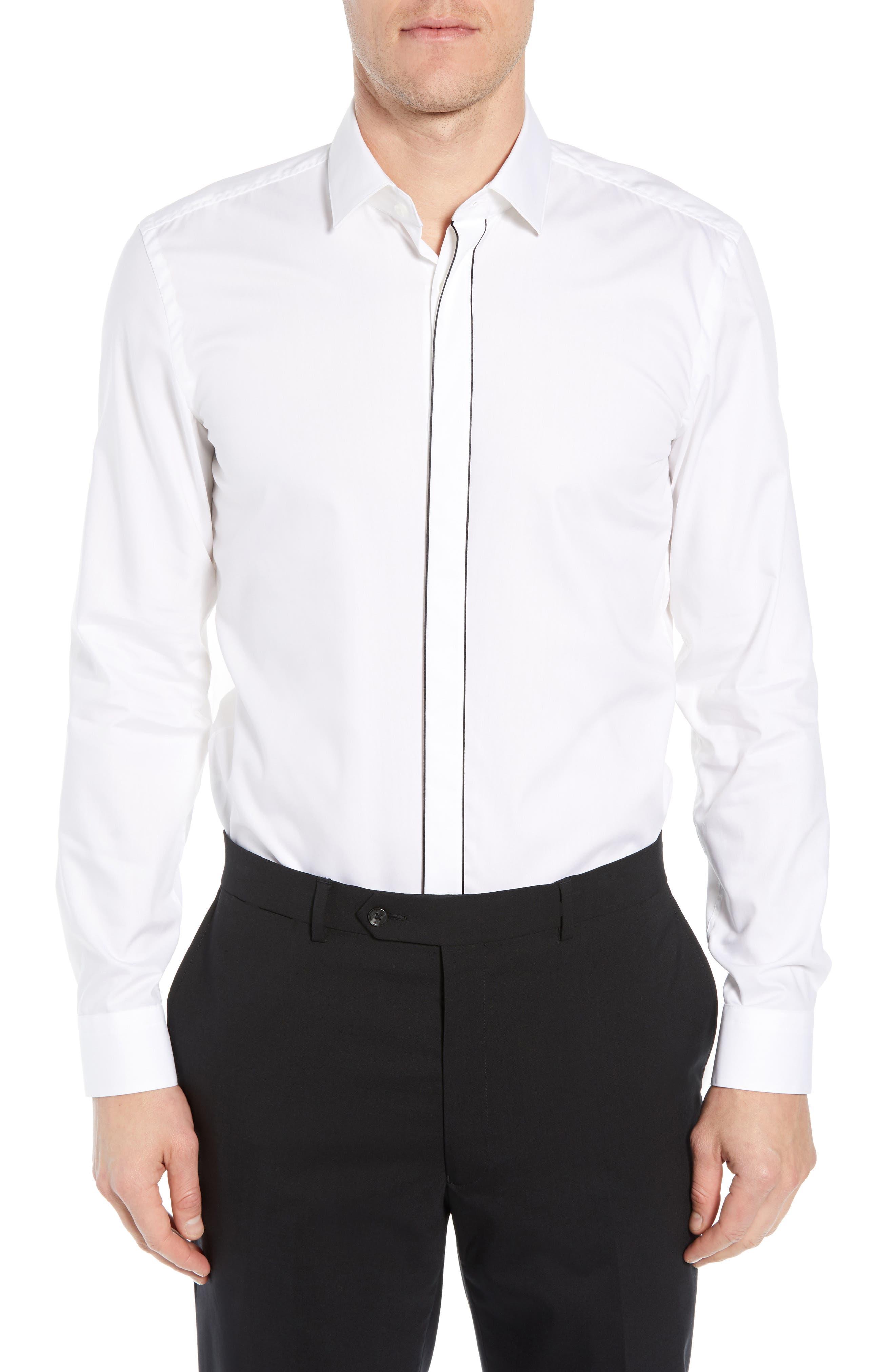 Jamir Slim Fit Easy Iron Solid Dress Shirt,                             Main thumbnail 1, color,                             100