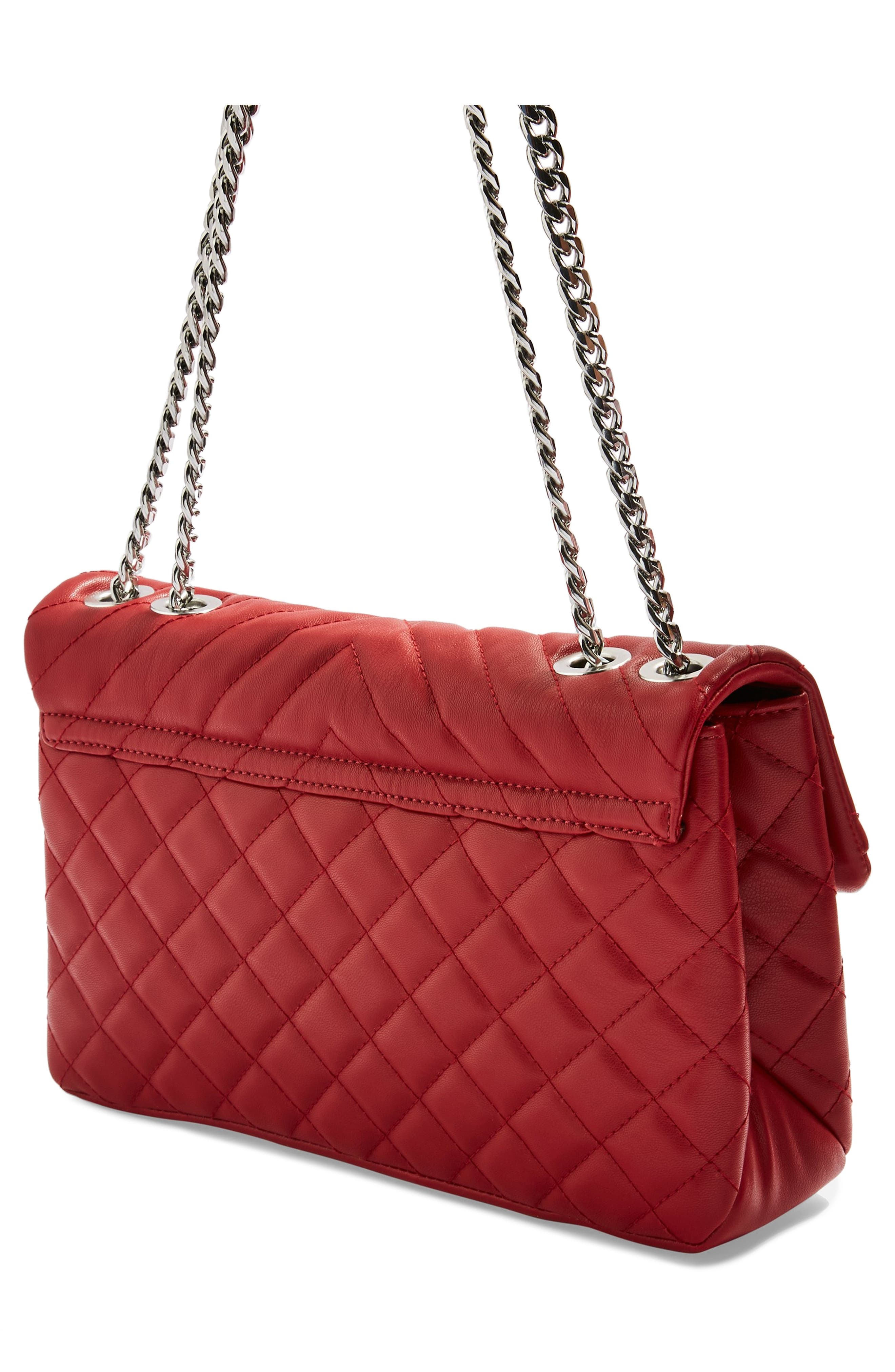Panther Quilted Faux Leather Shoulder Bag,                             Alternate thumbnail 3, color,                             RED MULTI