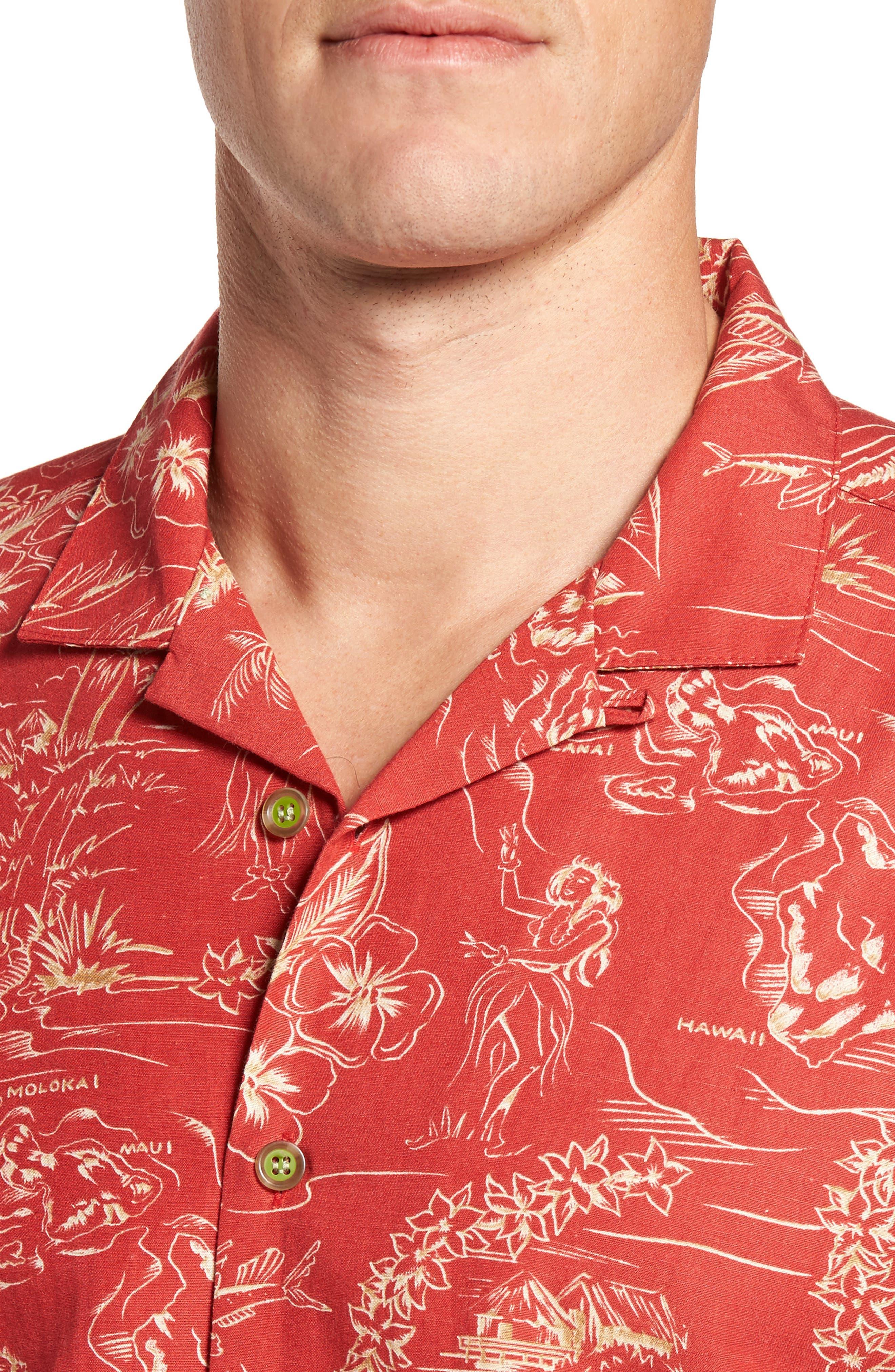 Konohiki Trim Fit Print Sport Shirt,                             Alternate thumbnail 4, color,                             605