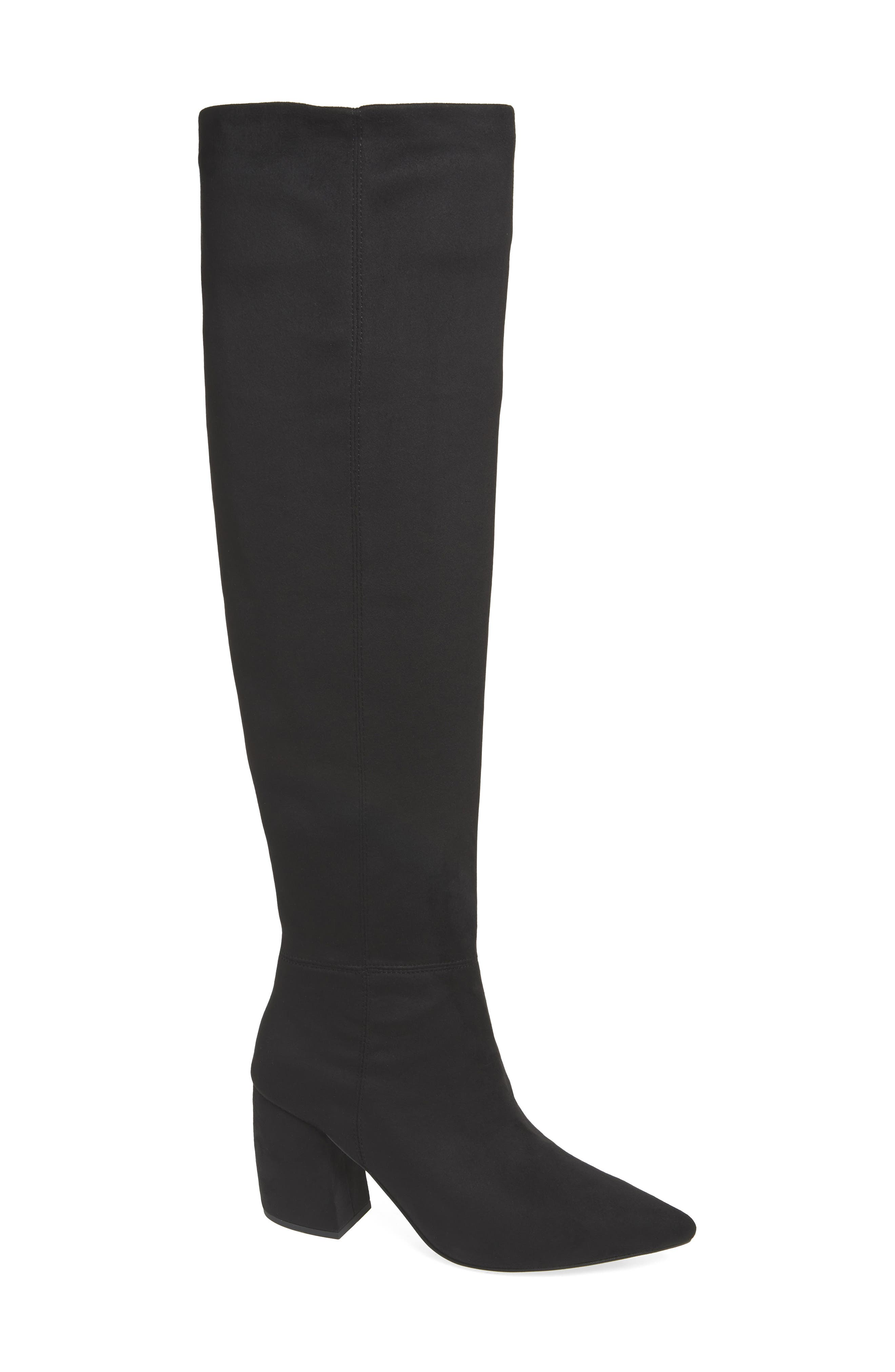 Final Slouch Over the Knee Boot,                             Main thumbnail 1, color,                             BLACK SUEDE