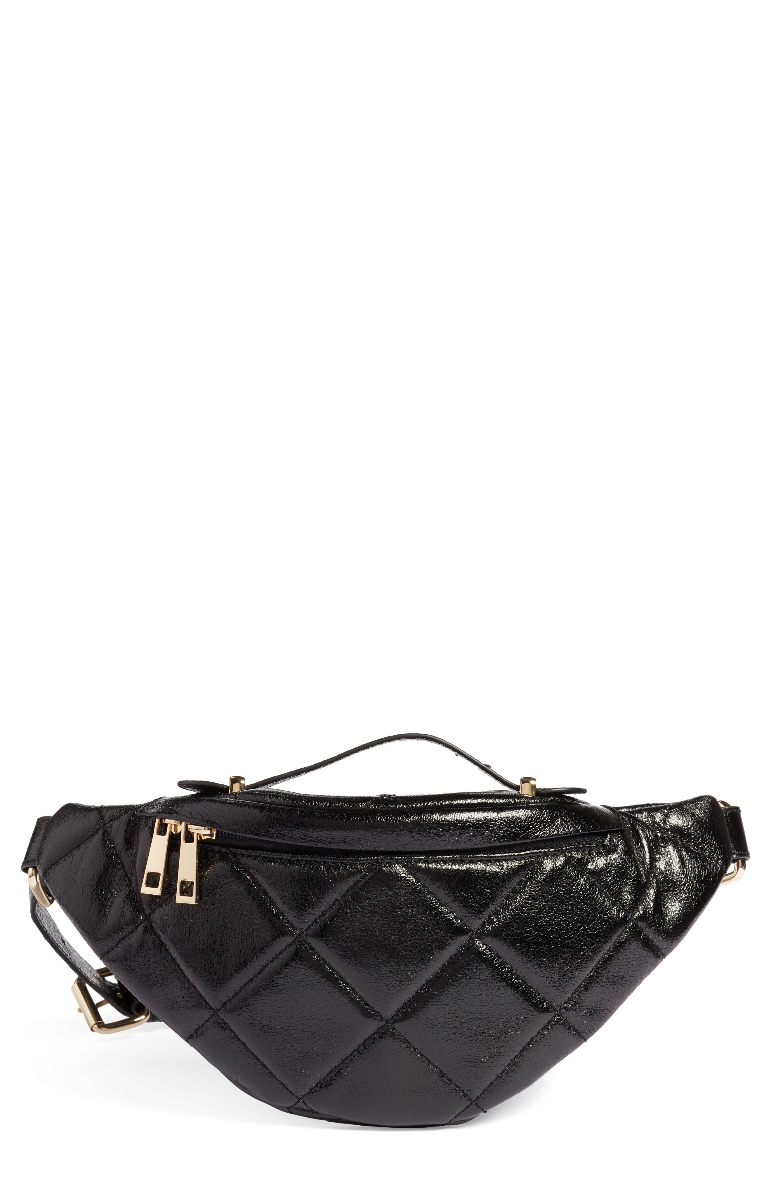Quilted Faux Leather Belt Bag,                             Main thumbnail 1, color,                             BLACK