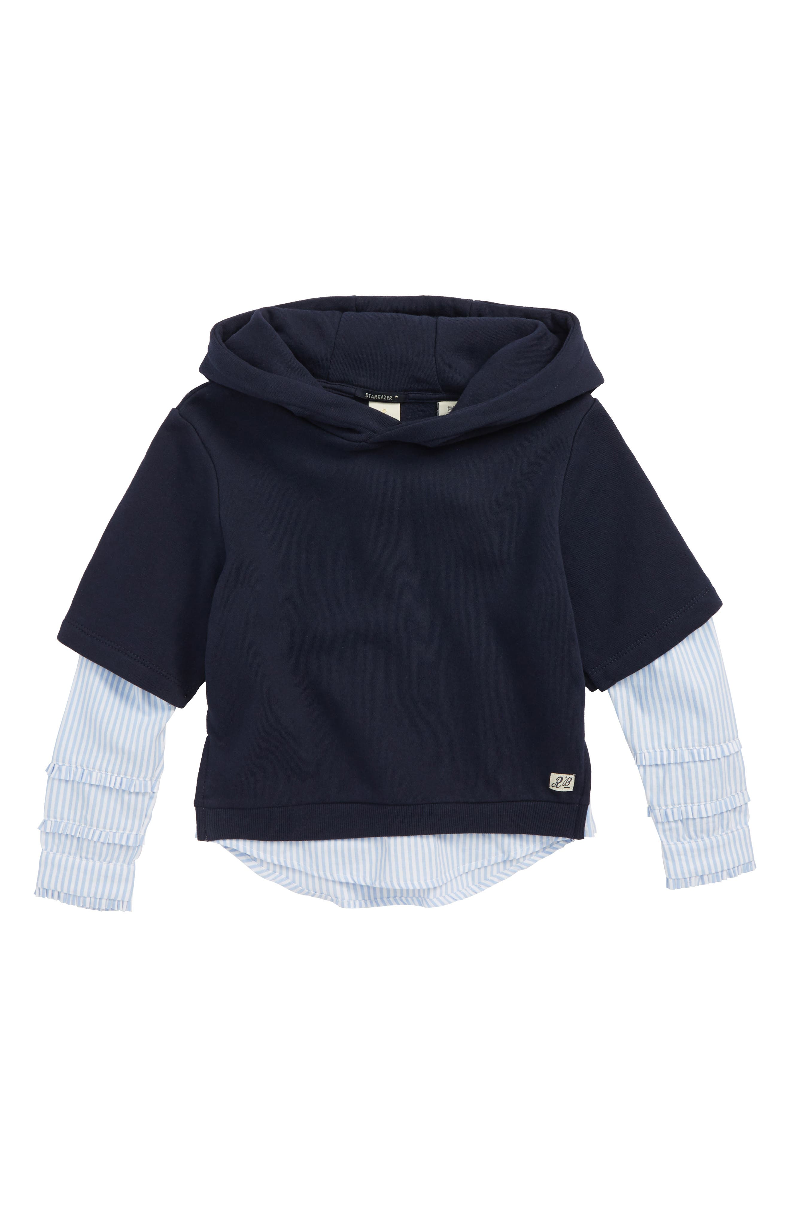 Scotch R'Belle Layered Hoodie,                         Main,                         color, NAVY