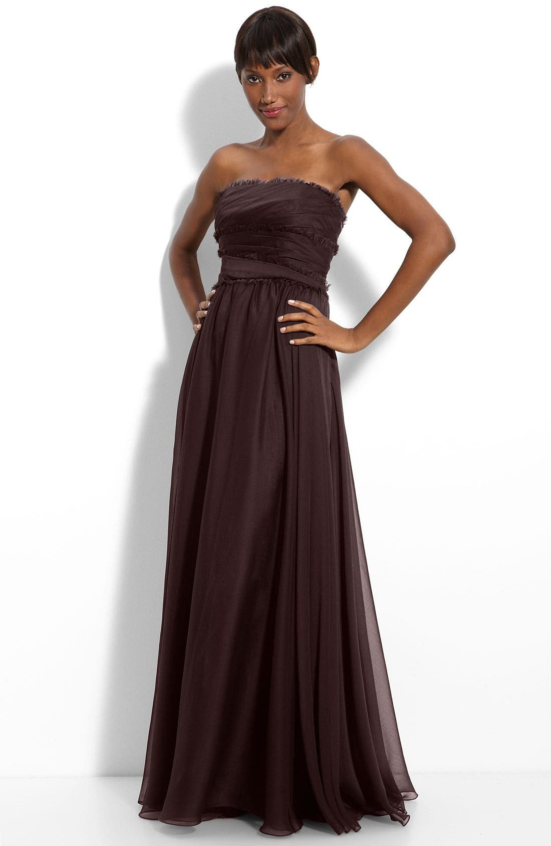 ML Monique Lhuillier Bridesmaids Strapless Chiffon Gown,                             Main thumbnail 5, color,