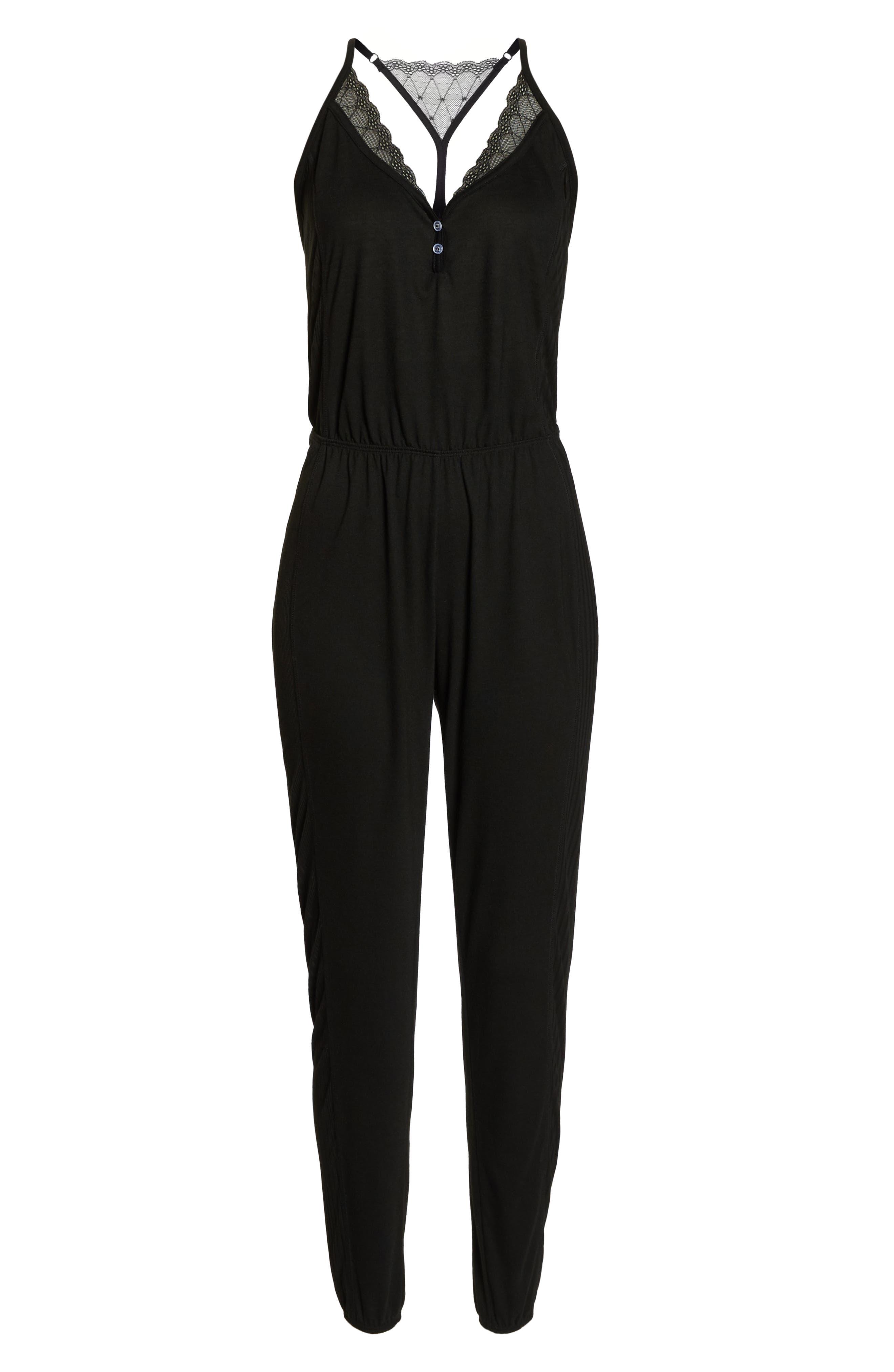 Romper Pajamas,                             Alternate thumbnail 6, color,                             BLACK