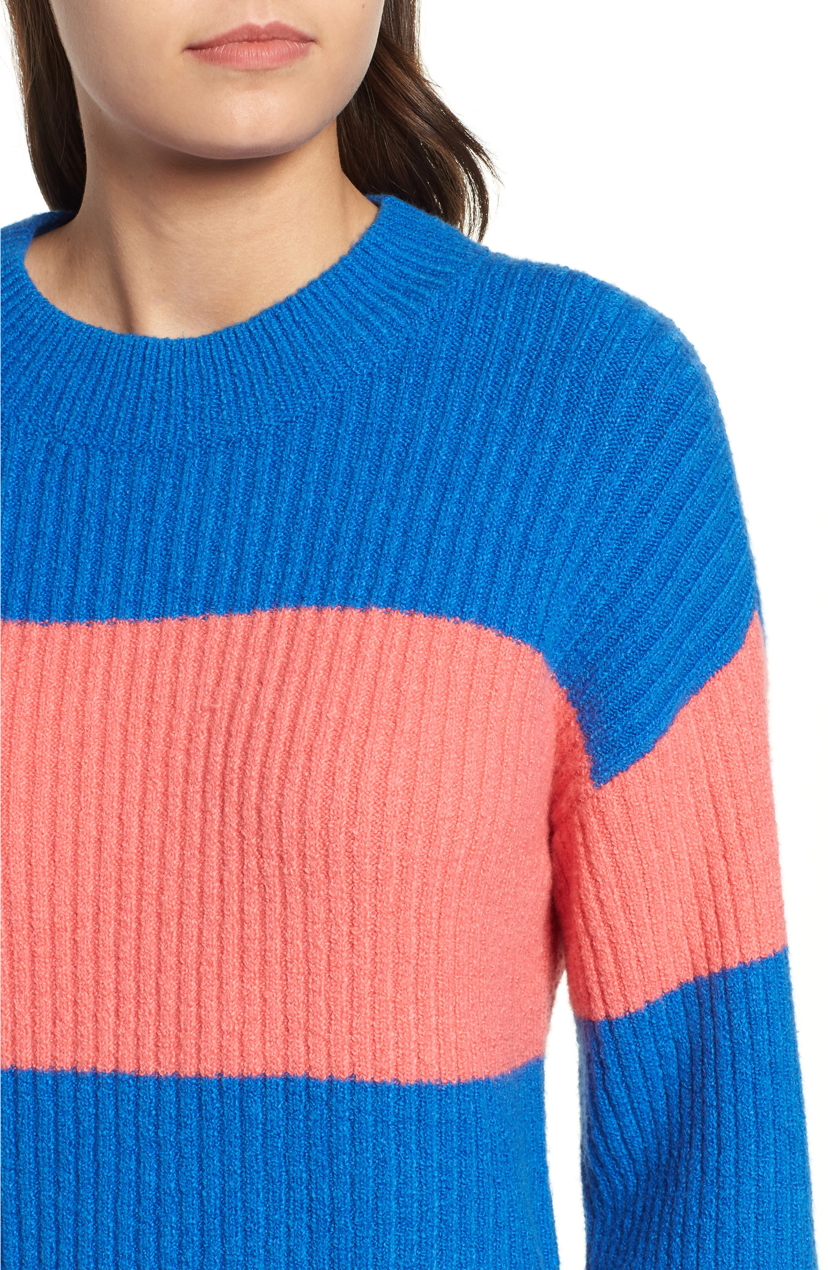 Rugby Stripe Sweater,                             Alternate thumbnail 6, color,                             BLUE BOAT COURTNEY STRIPE