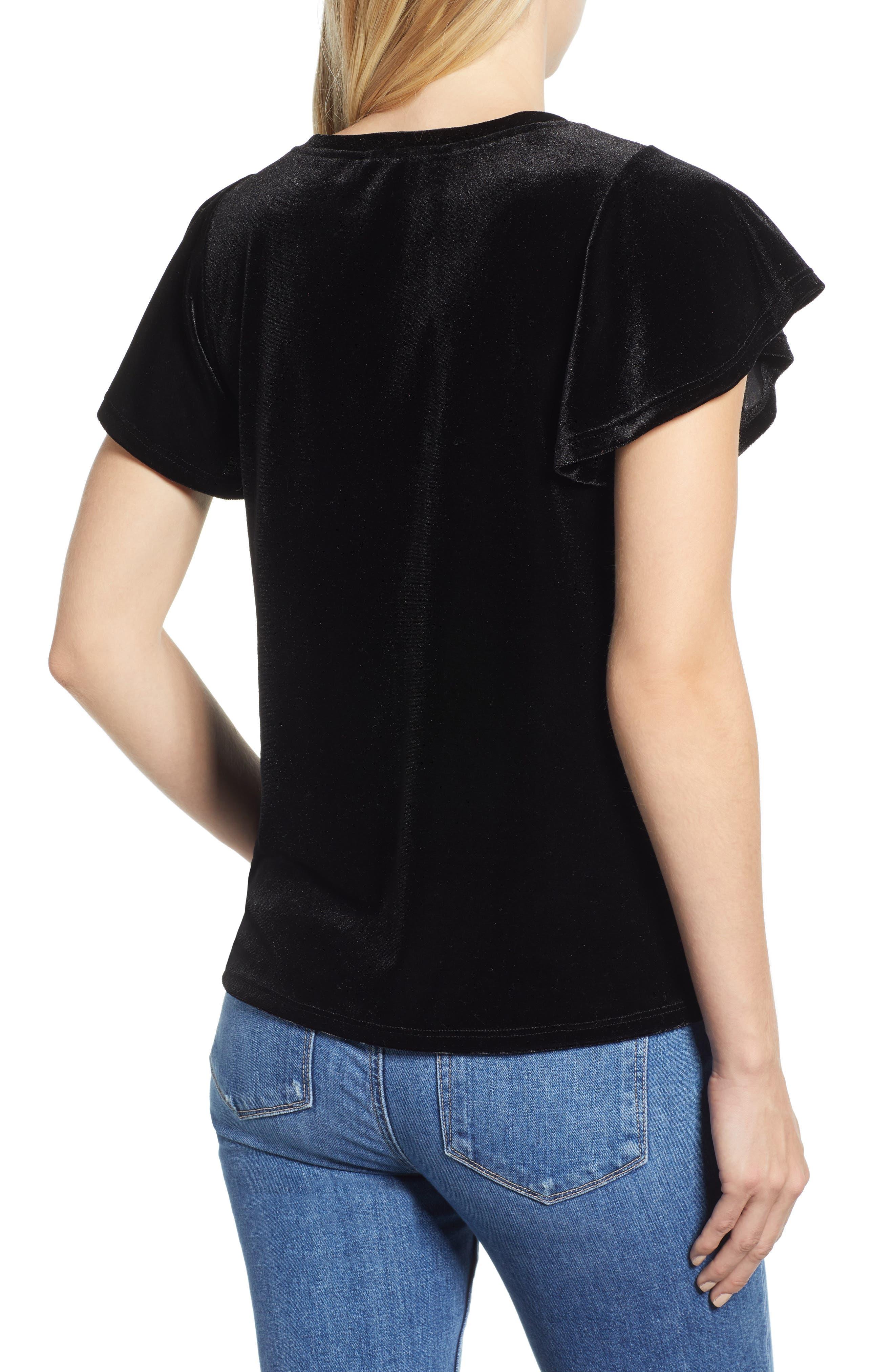 x Glam Squad Velvet Flutter Sleeve Shirt,                             Alternate thumbnail 3, color,                             BLACK