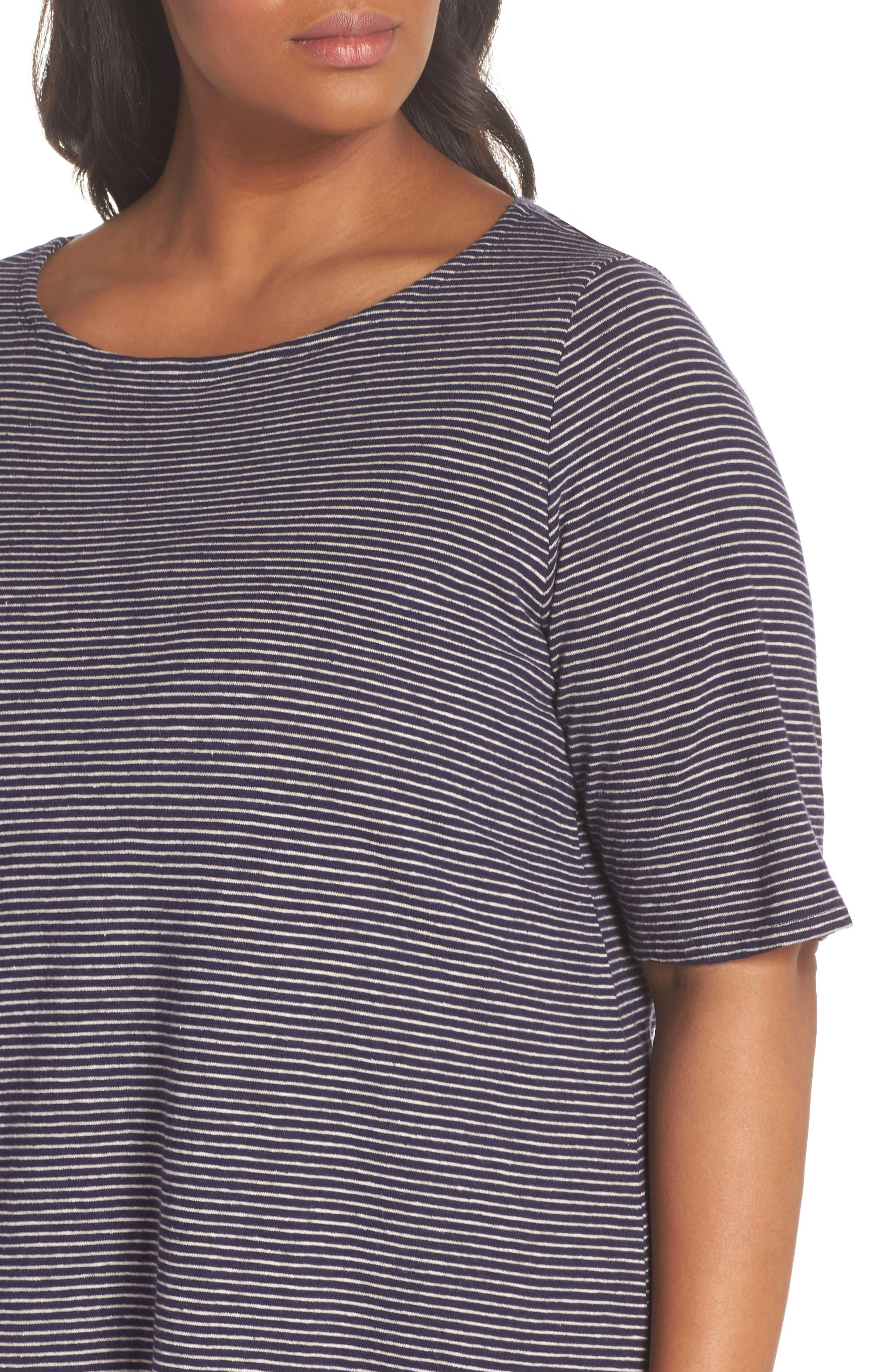 Stripe Hem & Cotton T-Shirt Dress,                             Alternate thumbnail 4, color,                             465