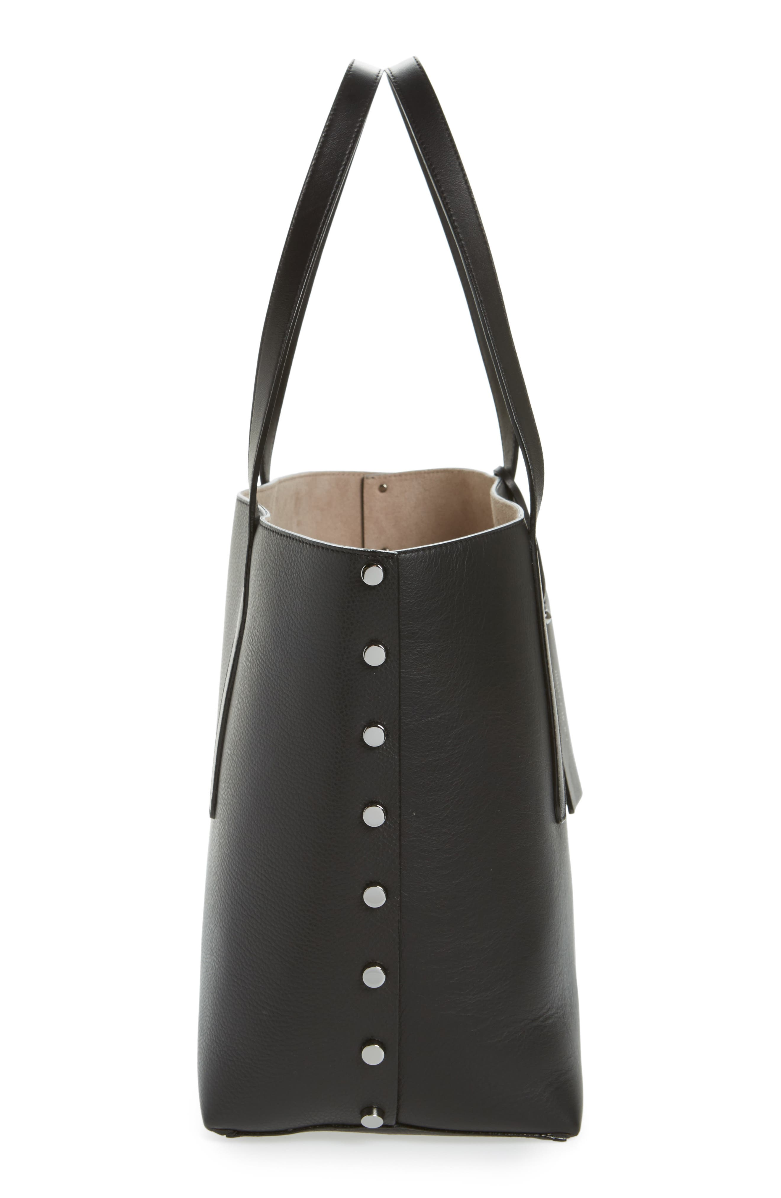 Twist Leather Tote,                             Alternate thumbnail 5, color,                             010