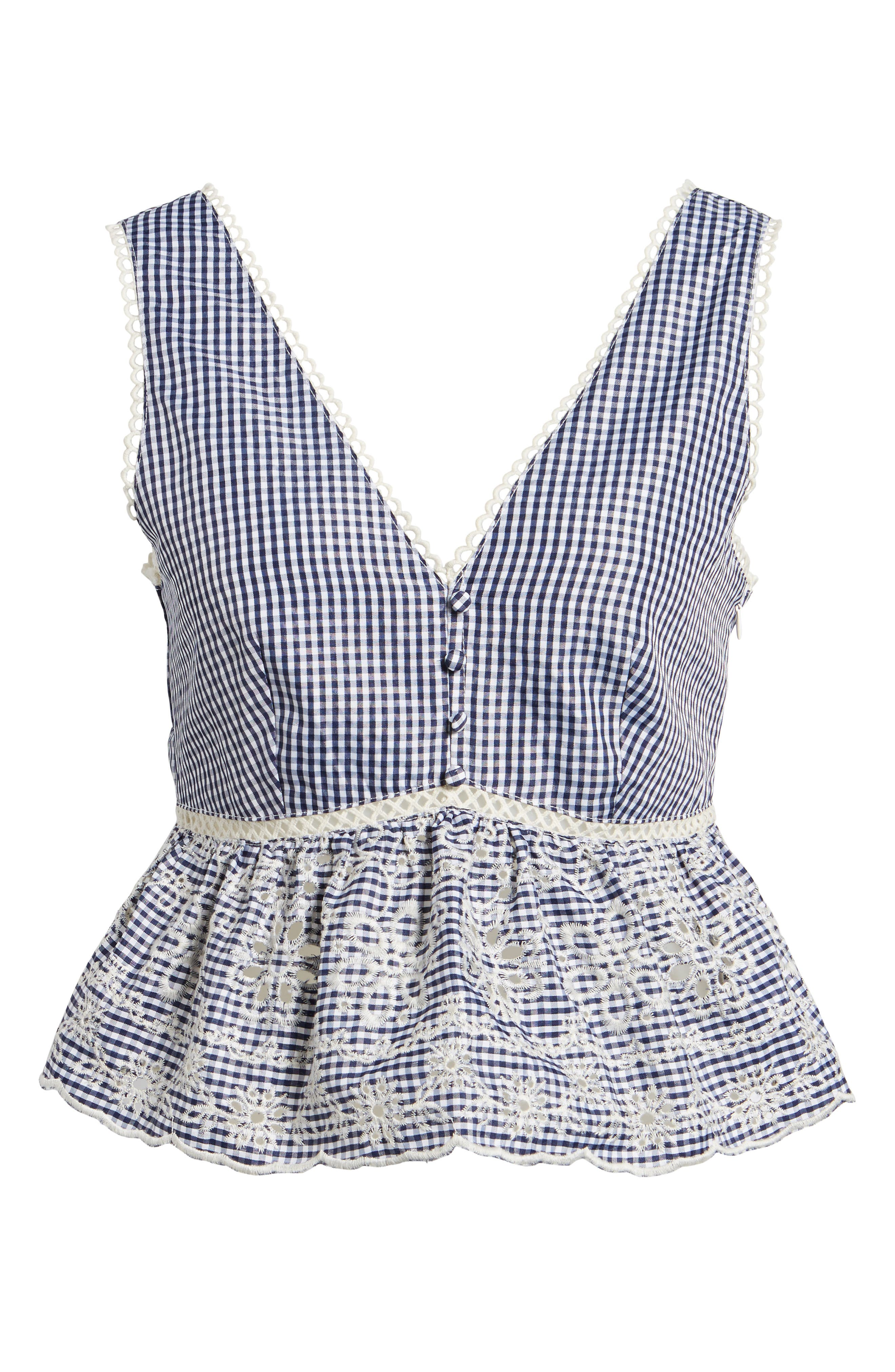 Embroidered Gingham Crop Top,                             Alternate thumbnail 6, color,                             400