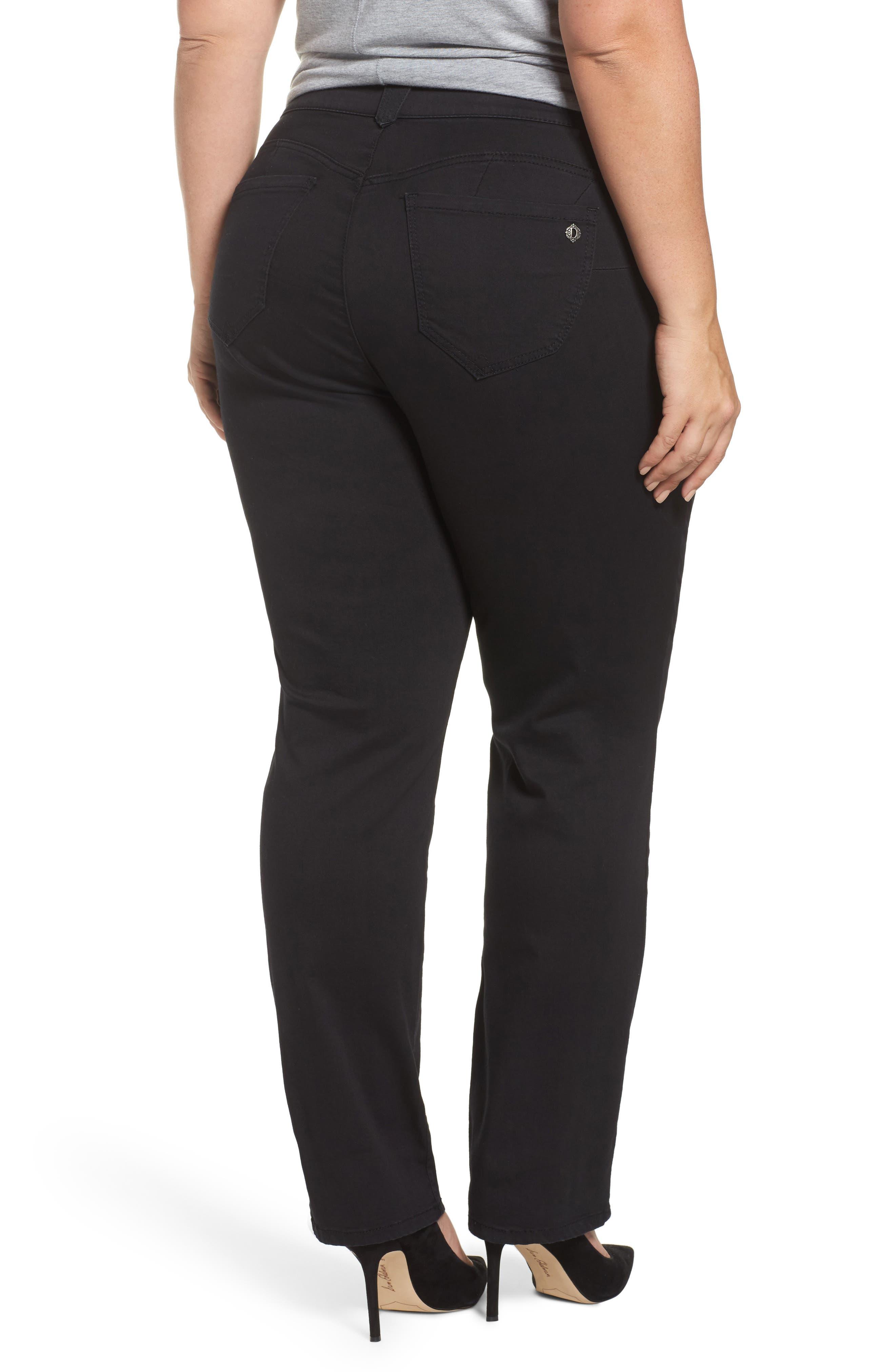 Ab-Solution Stretch Straight Leg Jeans,                             Alternate thumbnail 2, color,                             BLACK