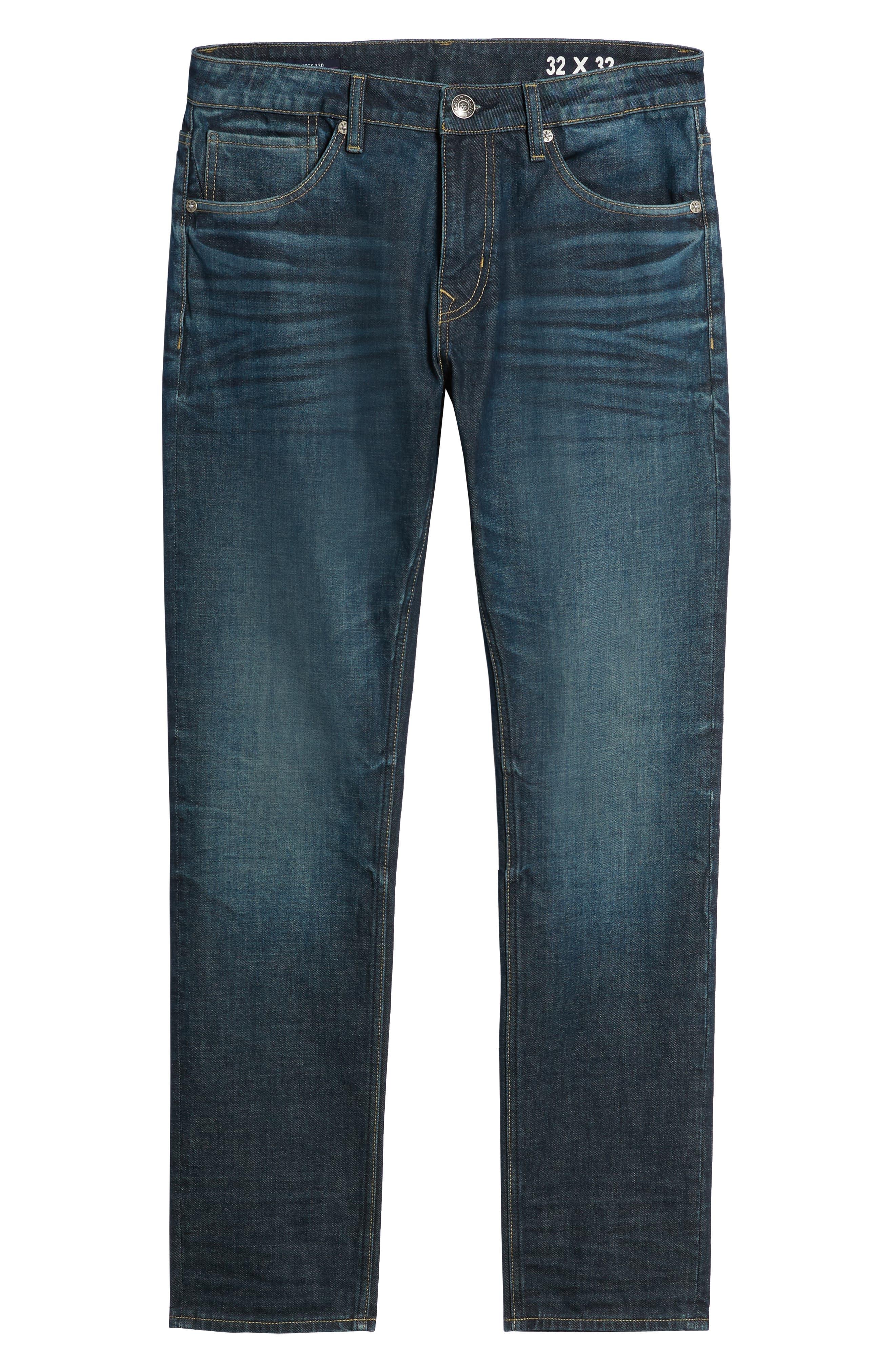 Mick Slim Fit Jeans,                             Alternate thumbnail 6, color,                             DARK 3D WASH