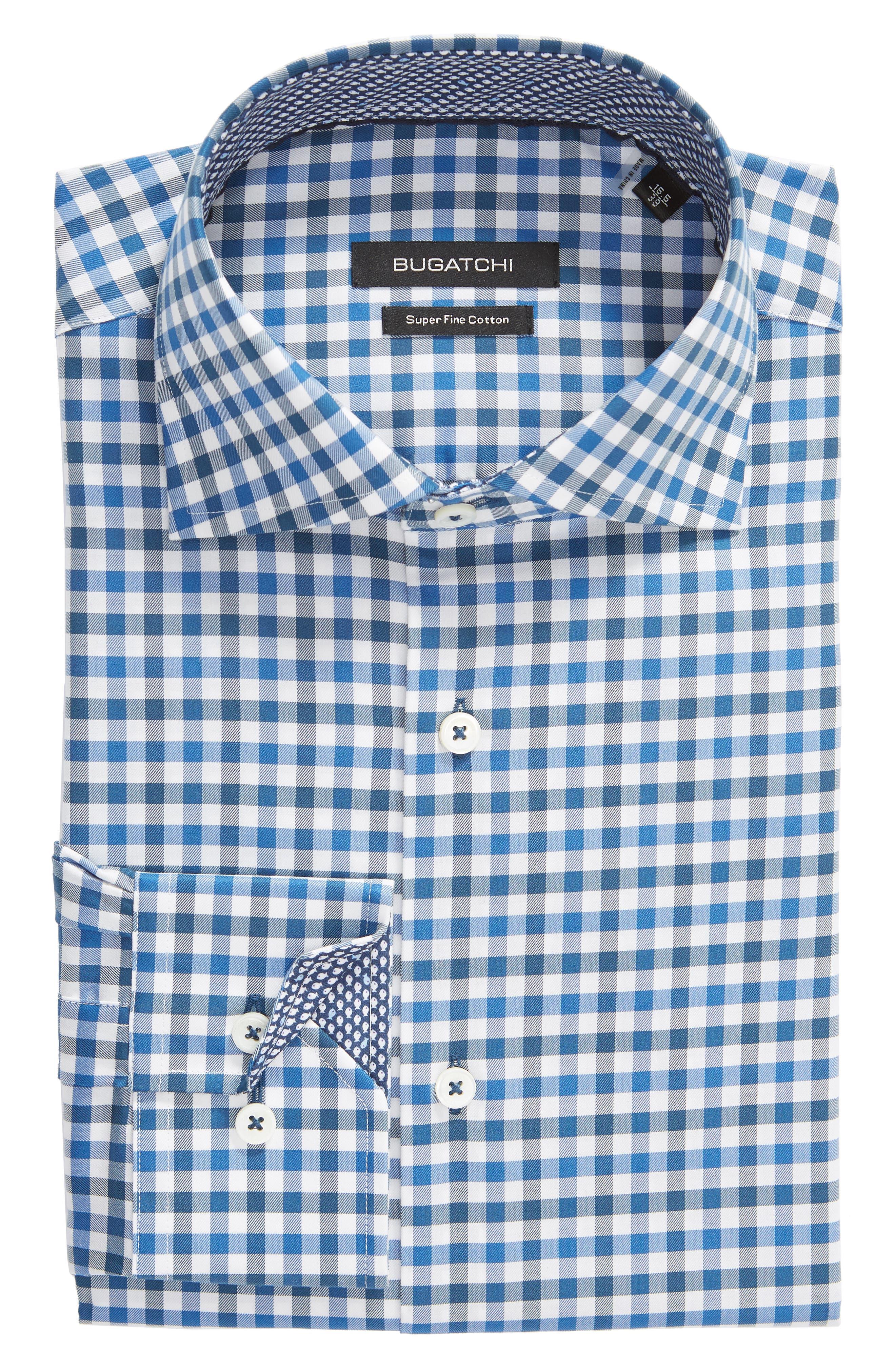 Trim Fit Check Dress Shirt,                             Alternate thumbnail 5, color,                             CLASSIC BLUE