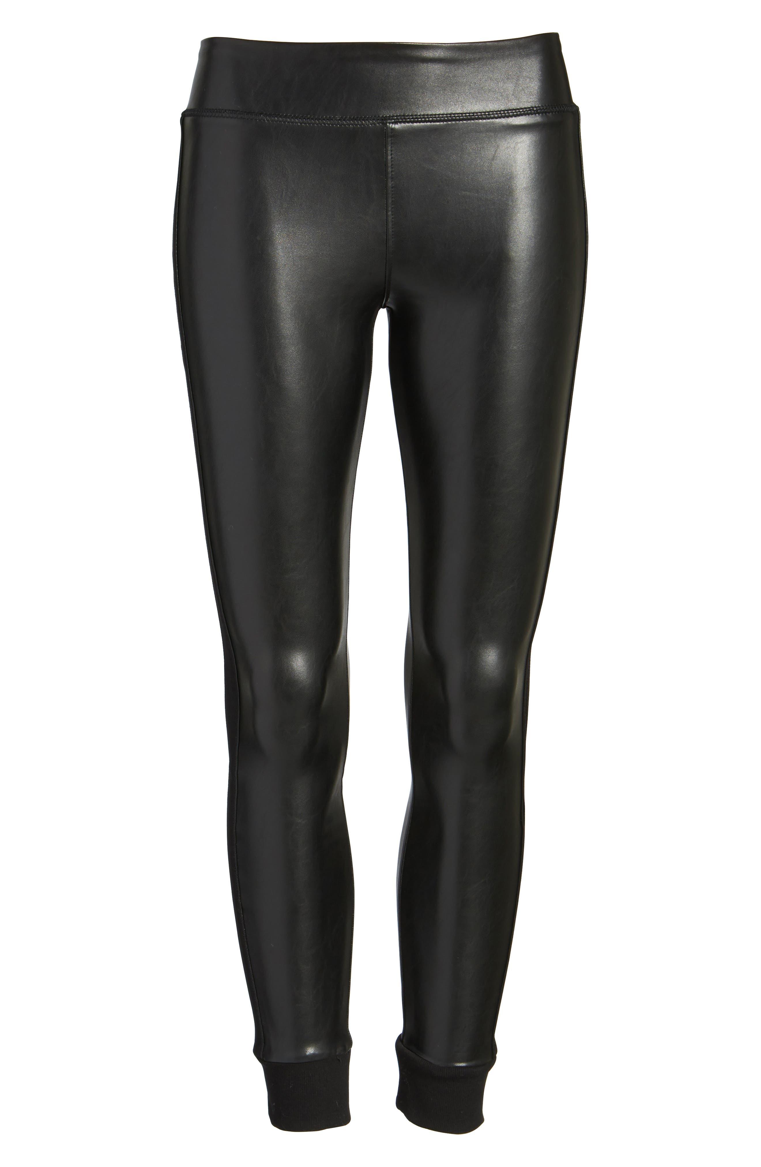 Cuffed Faux Leather Leggings,                             Alternate thumbnail 6, color,                             001