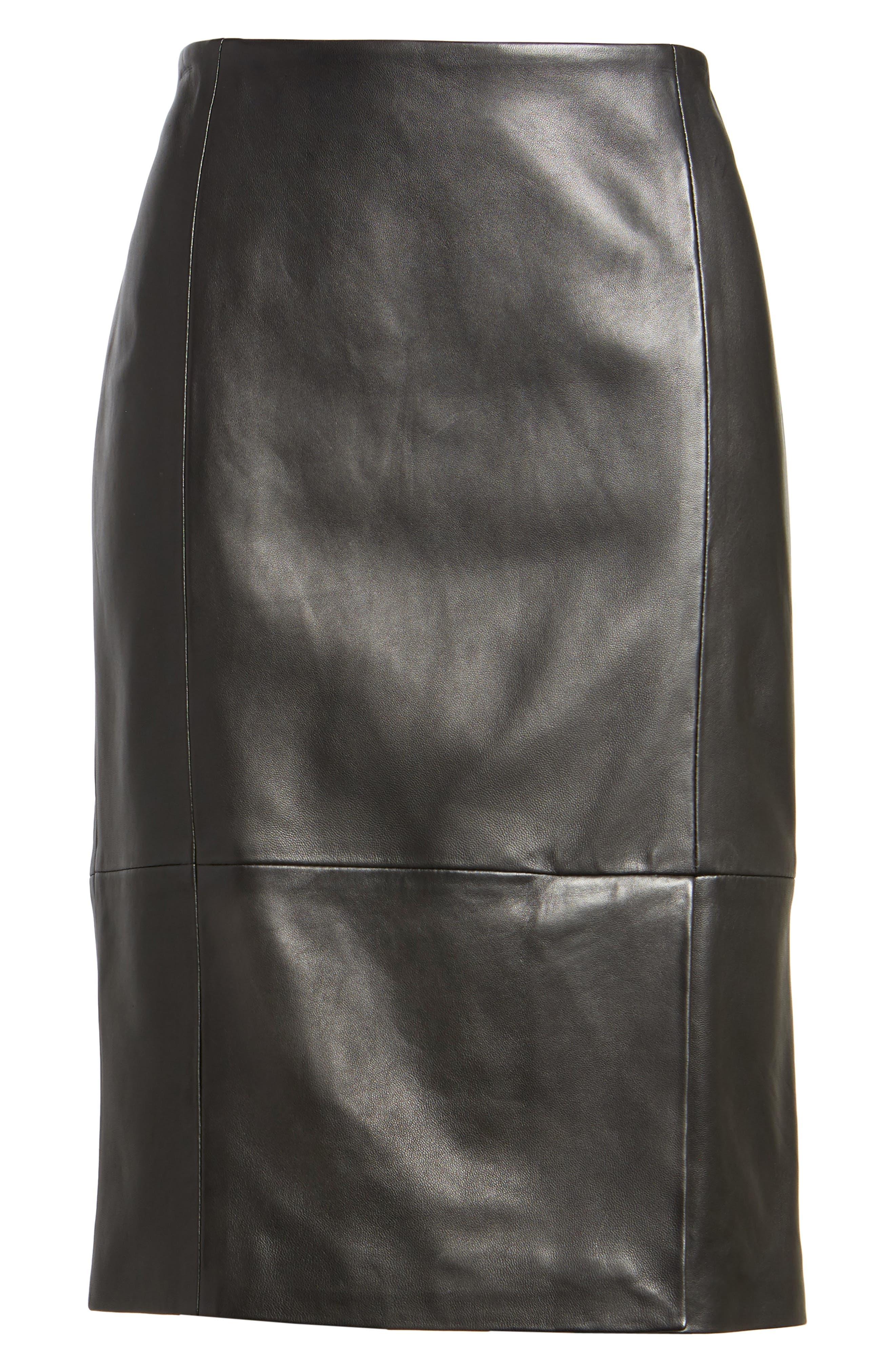 Sepama Leather Pencil Skirt,                             Alternate thumbnail 6, color,                             001