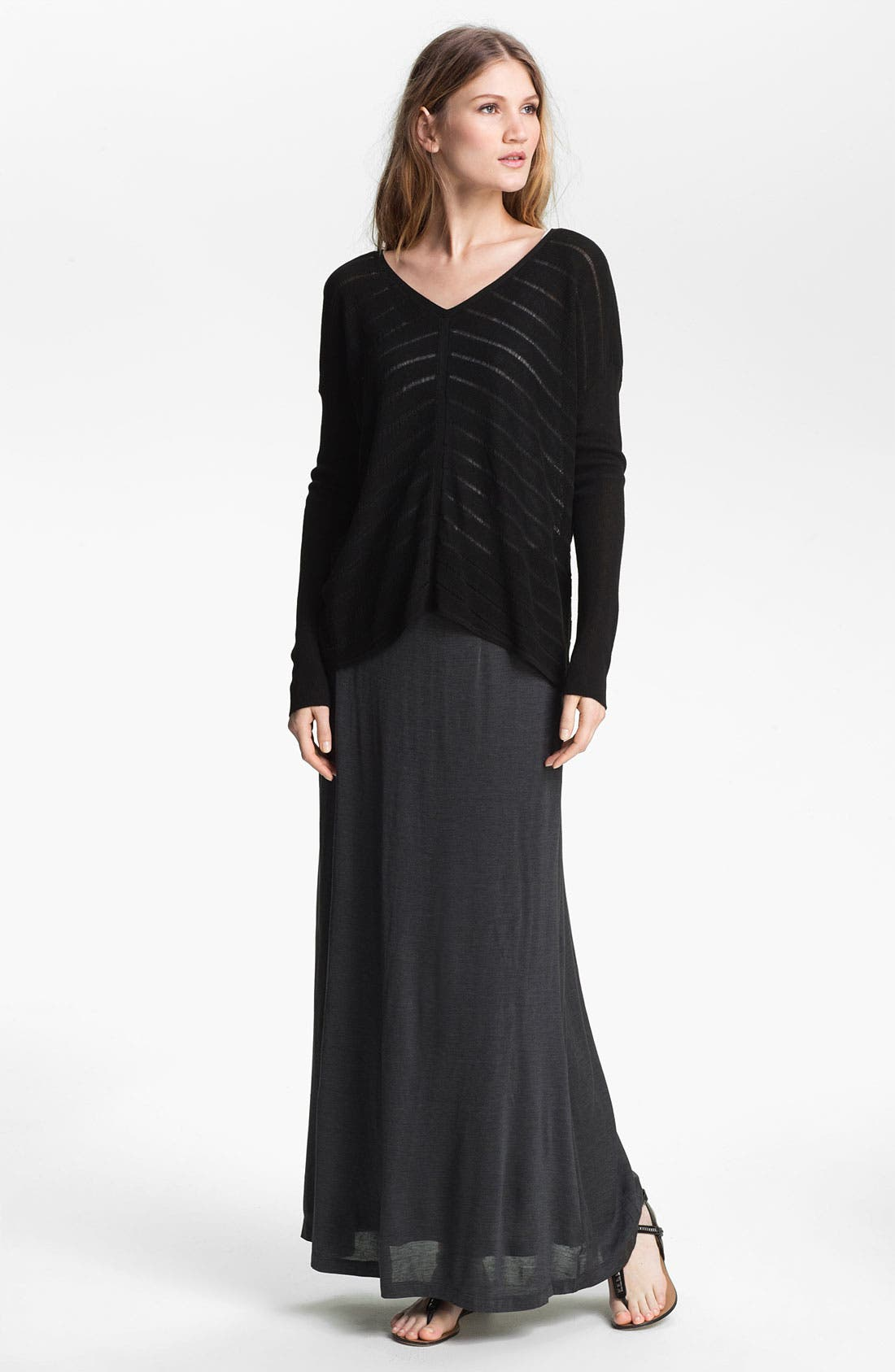 EILEEN FISHER,                             Silk & Cotton Jersey Maxi Skirt,                             Alternate thumbnail 4, color,                             025