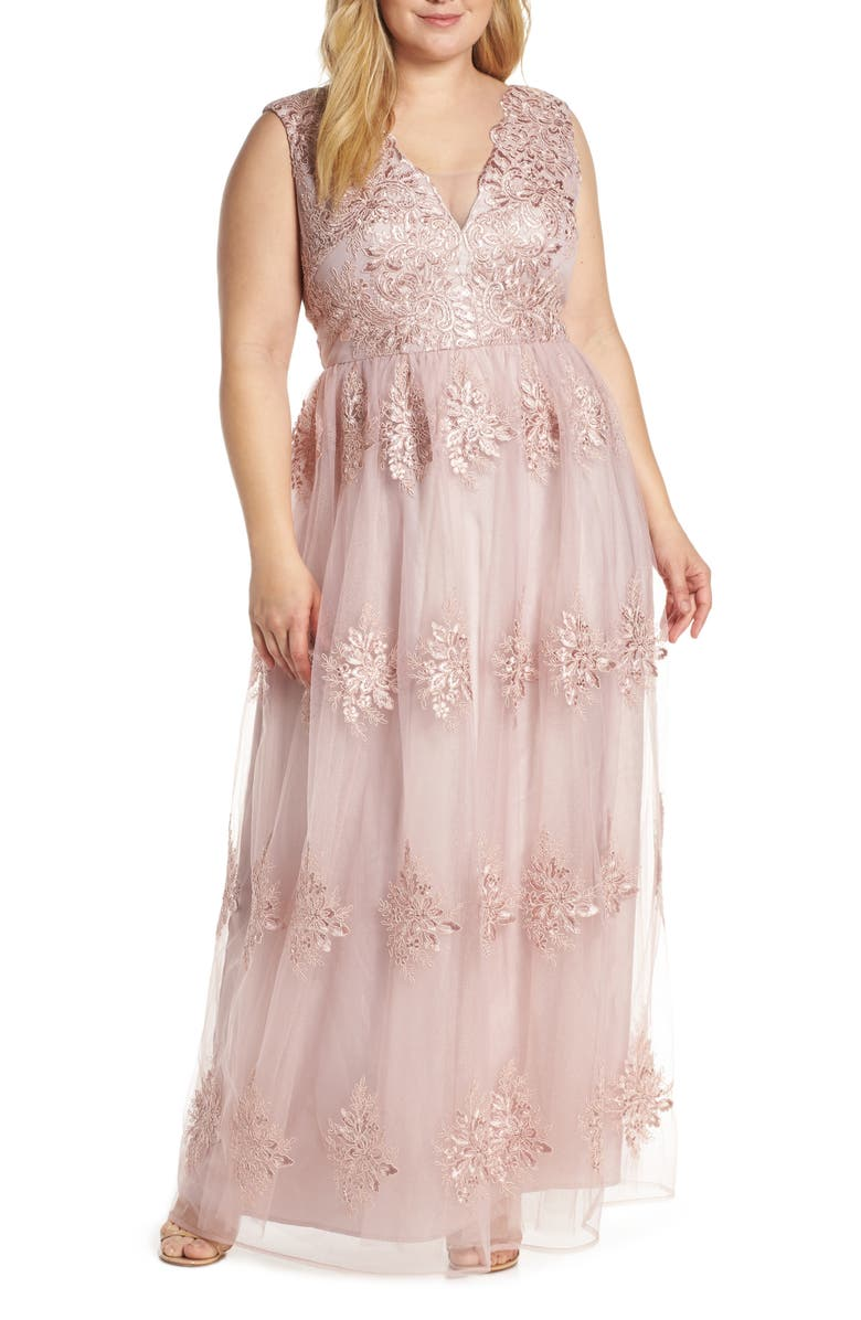 Chi Chi London Aubree Embroidered Mess Evening Dress (Plus Size ...