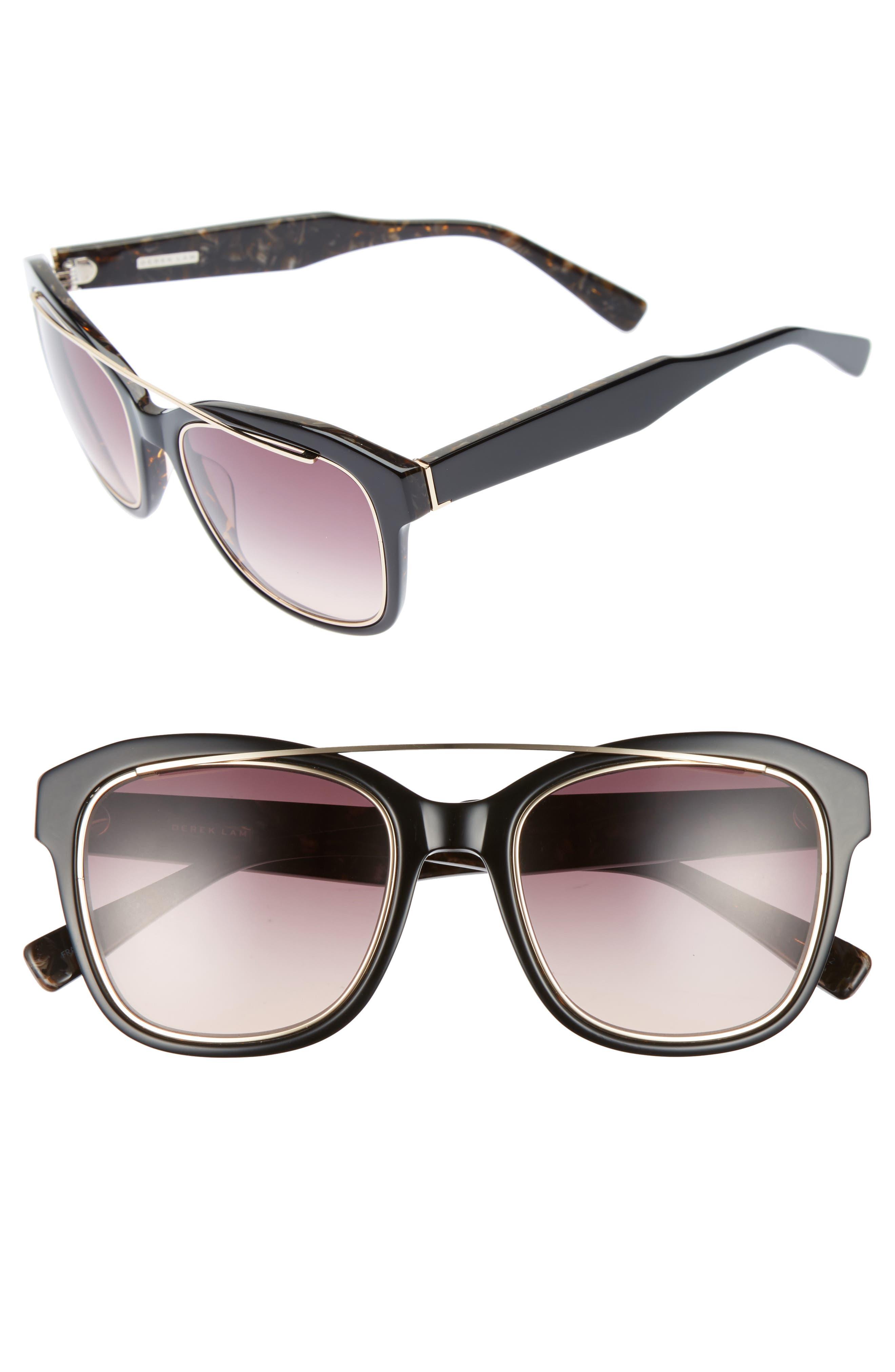 DEREK LAM Hudson 52mm Gradient Sunglasses, Main, color, 001