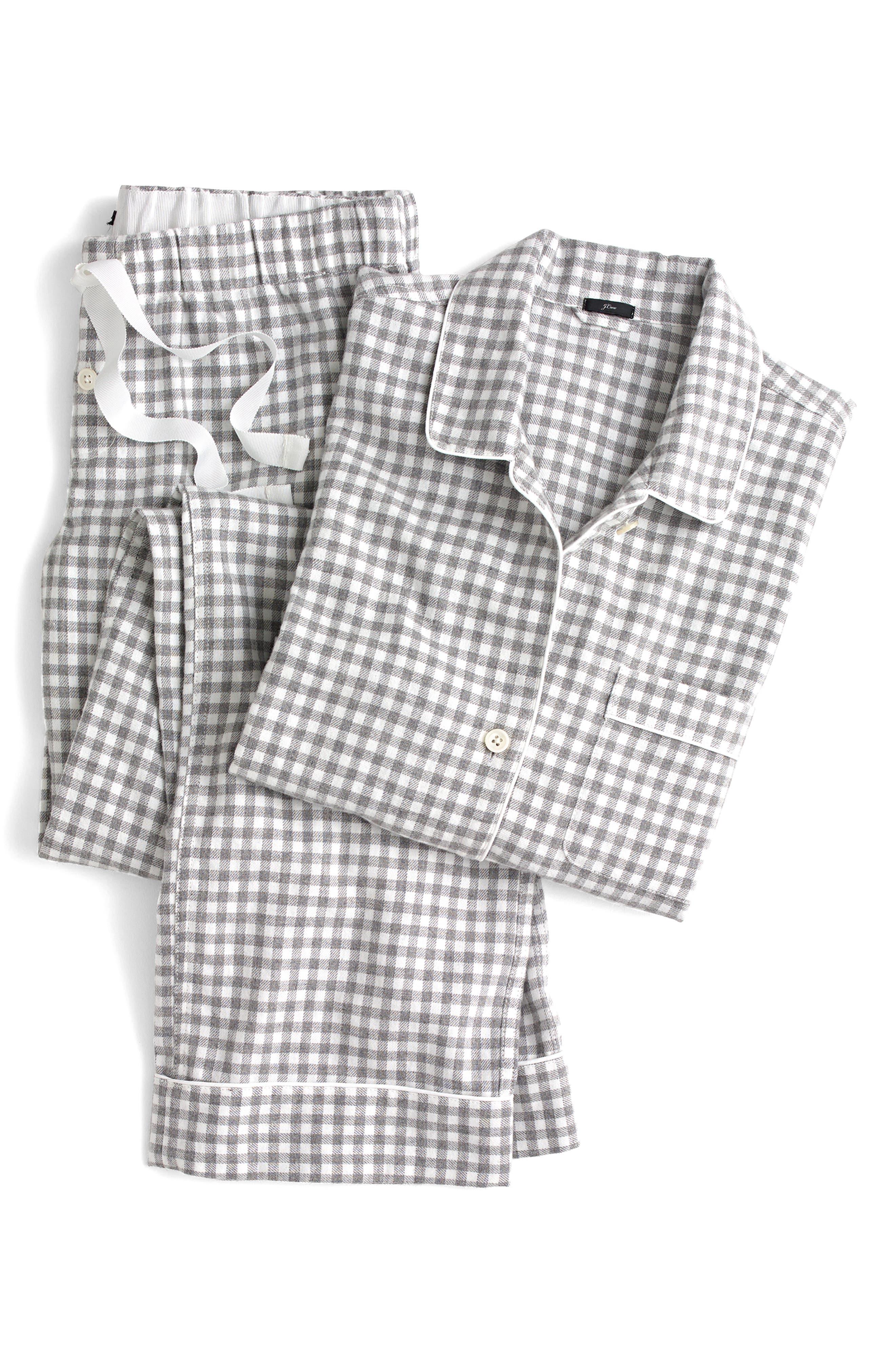 Gingham Flannel Pajamas,                             Alternate thumbnail 4, color,                             090