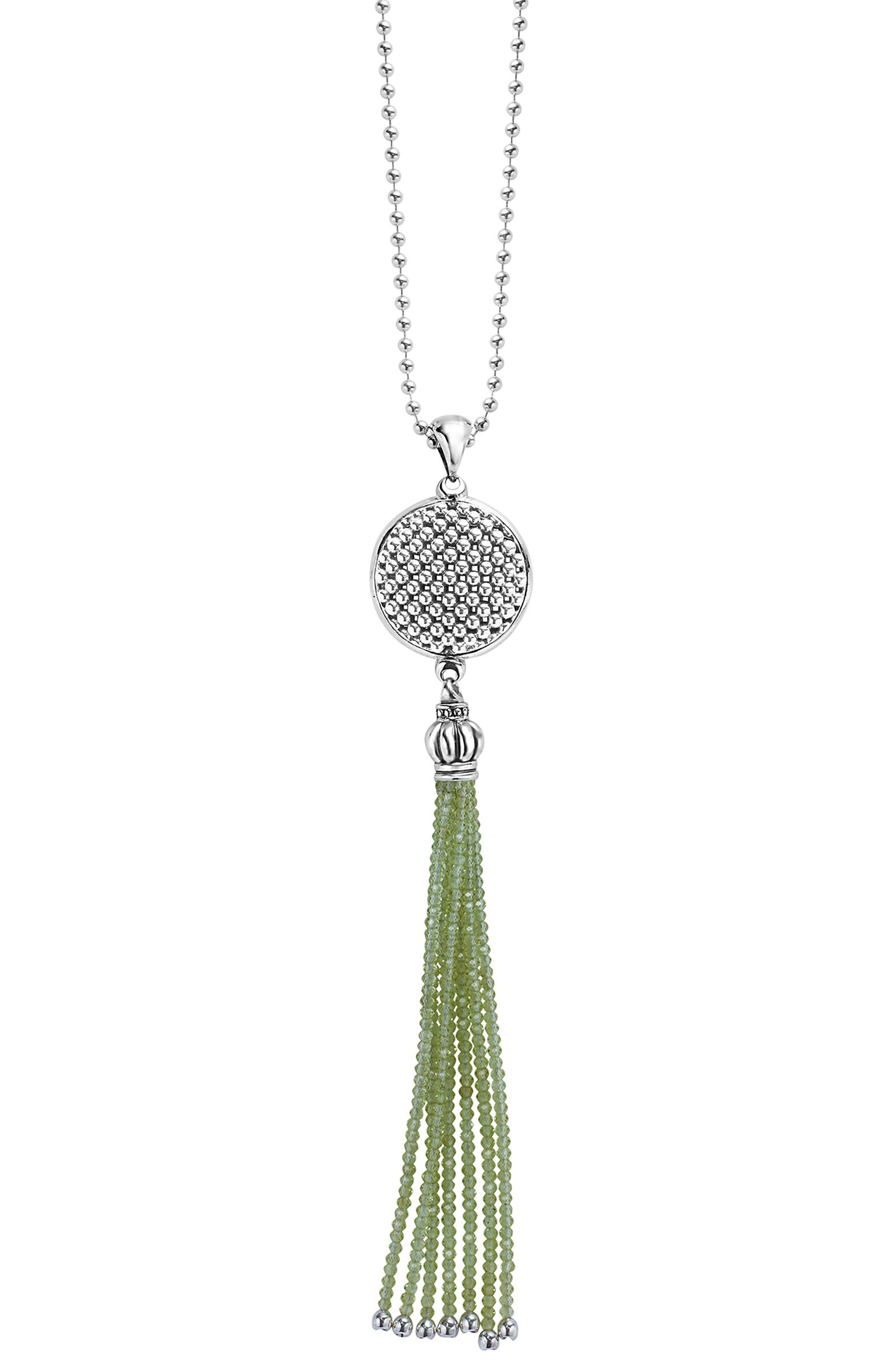 Caviar Icon Tassel Pendant Necklace,                             Main thumbnail 1, color,                             PERIDOT