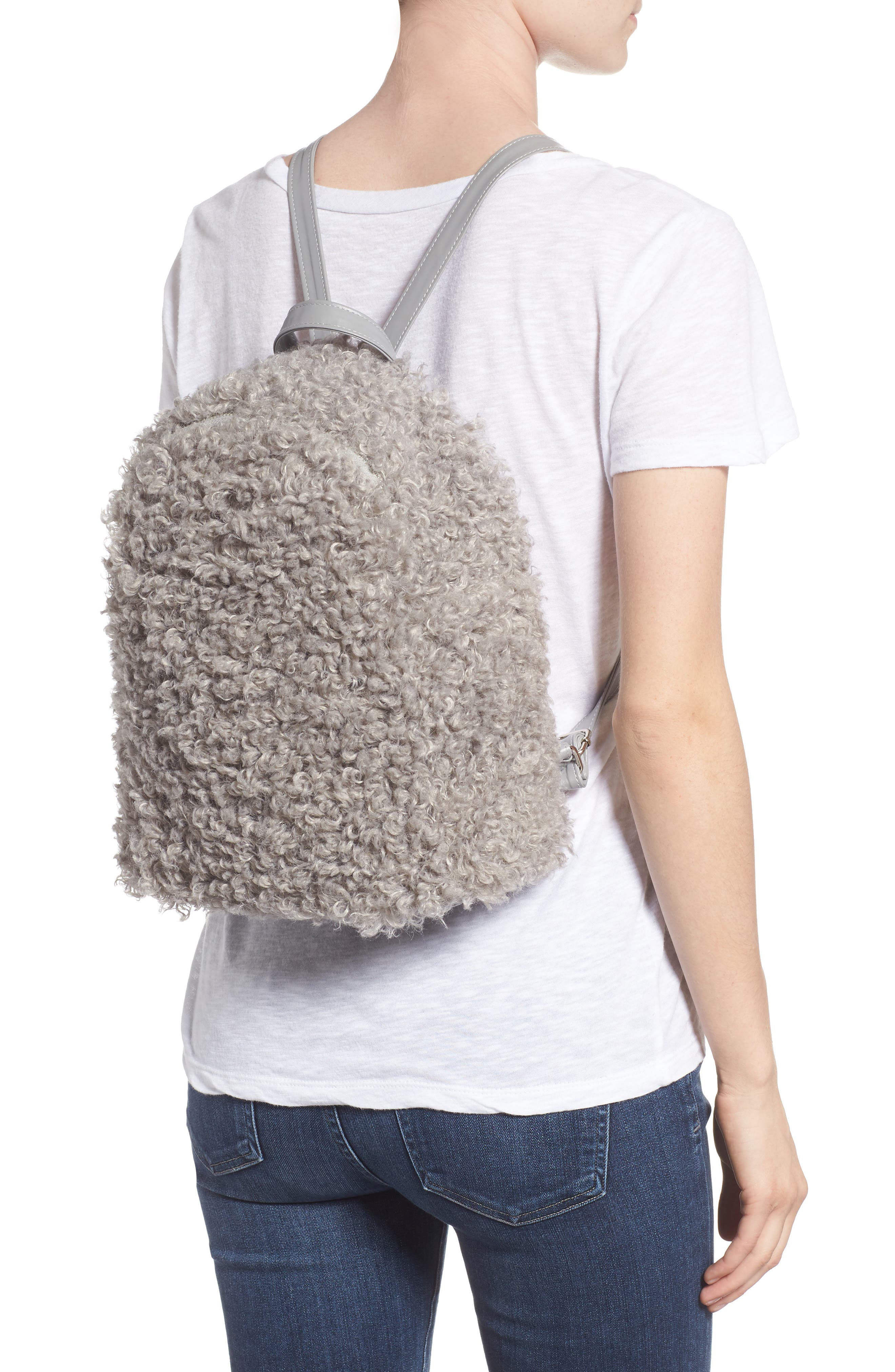 Curly Faux Shearling Backpack,                             Alternate thumbnail 2, color,                             020