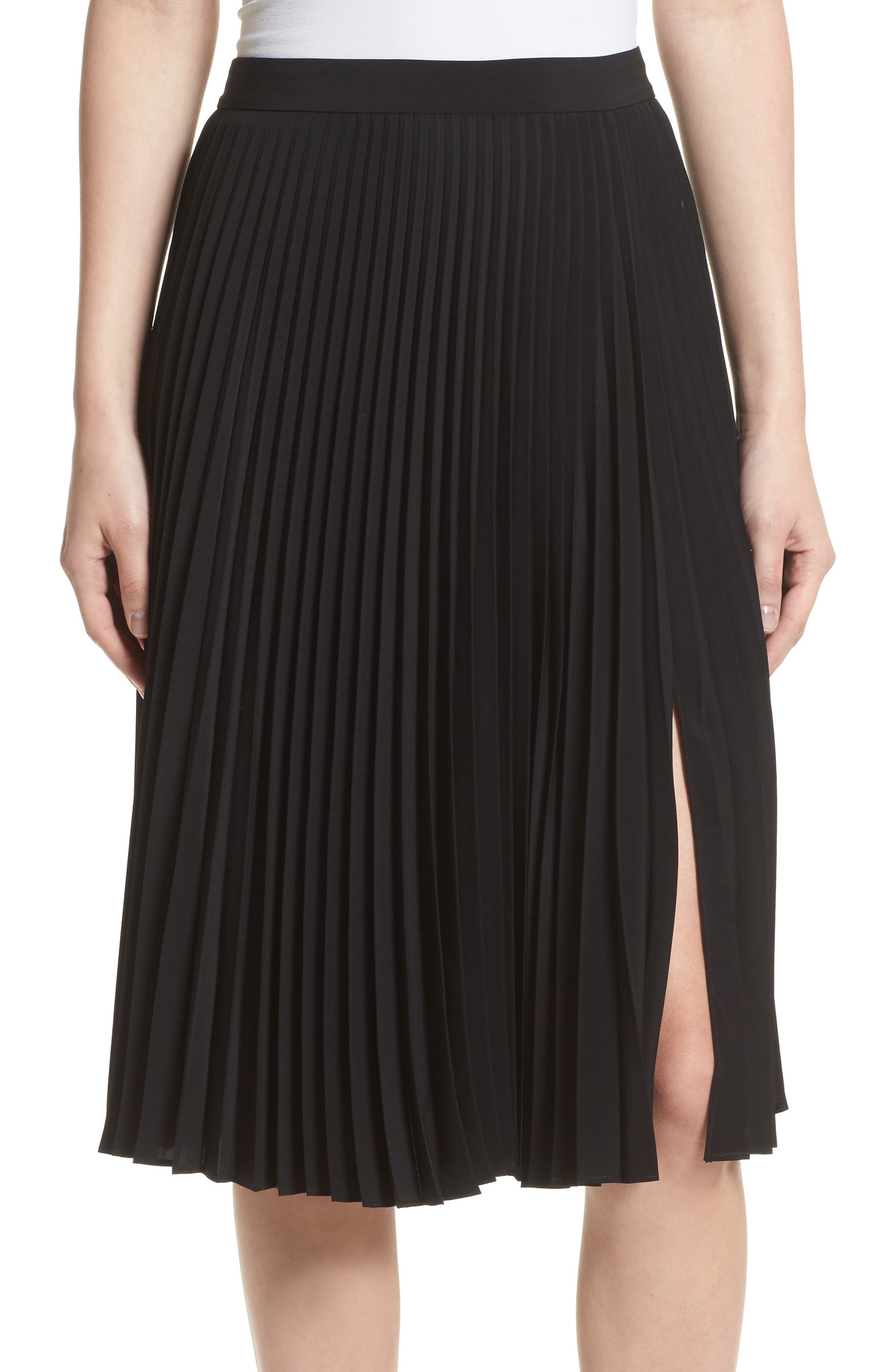 Gates Pleated Skirt,                             Alternate thumbnail 4, color,                             001