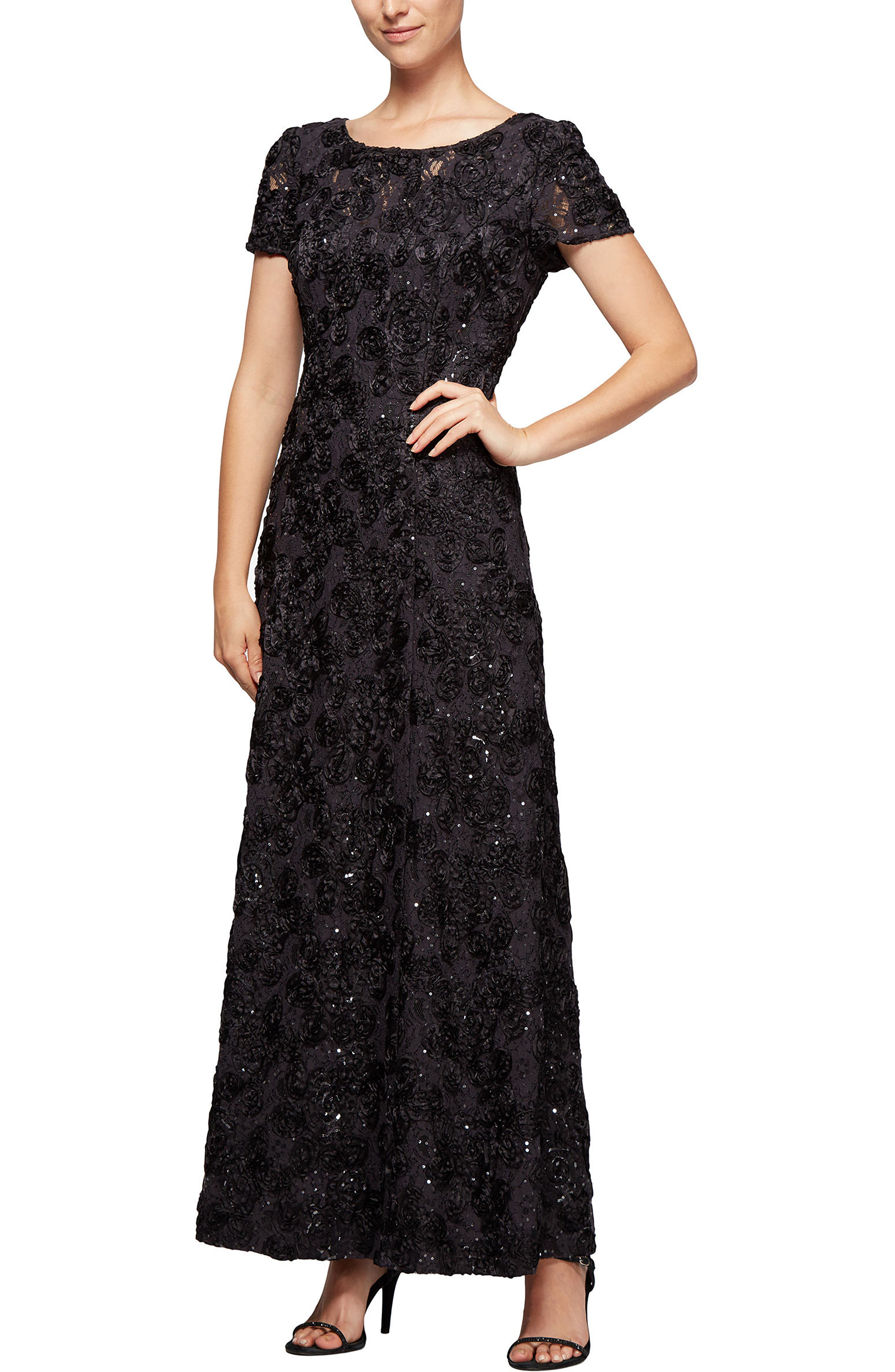 ALEX EVENINGS Embellished Lace Gown, Main, color, 024
