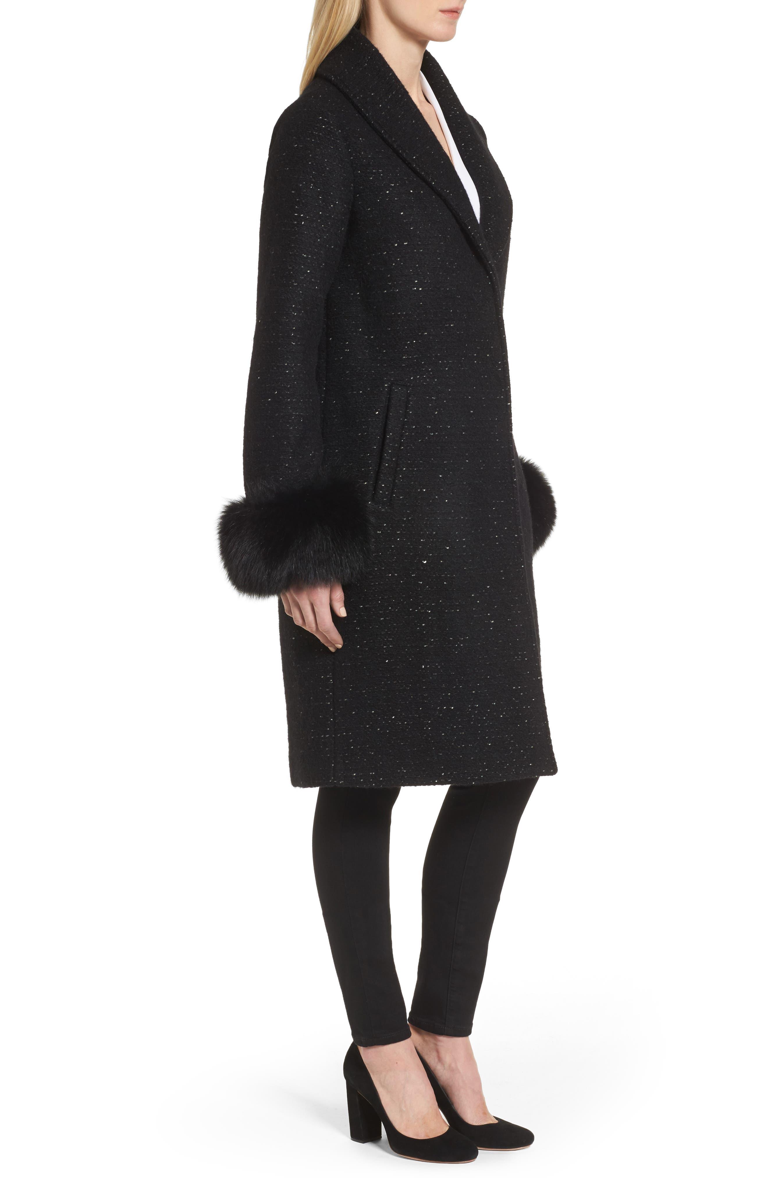Grace Genuine Fox Fur Trim Knit Wool Blend Long Coat,                             Alternate thumbnail 3, color,                             001