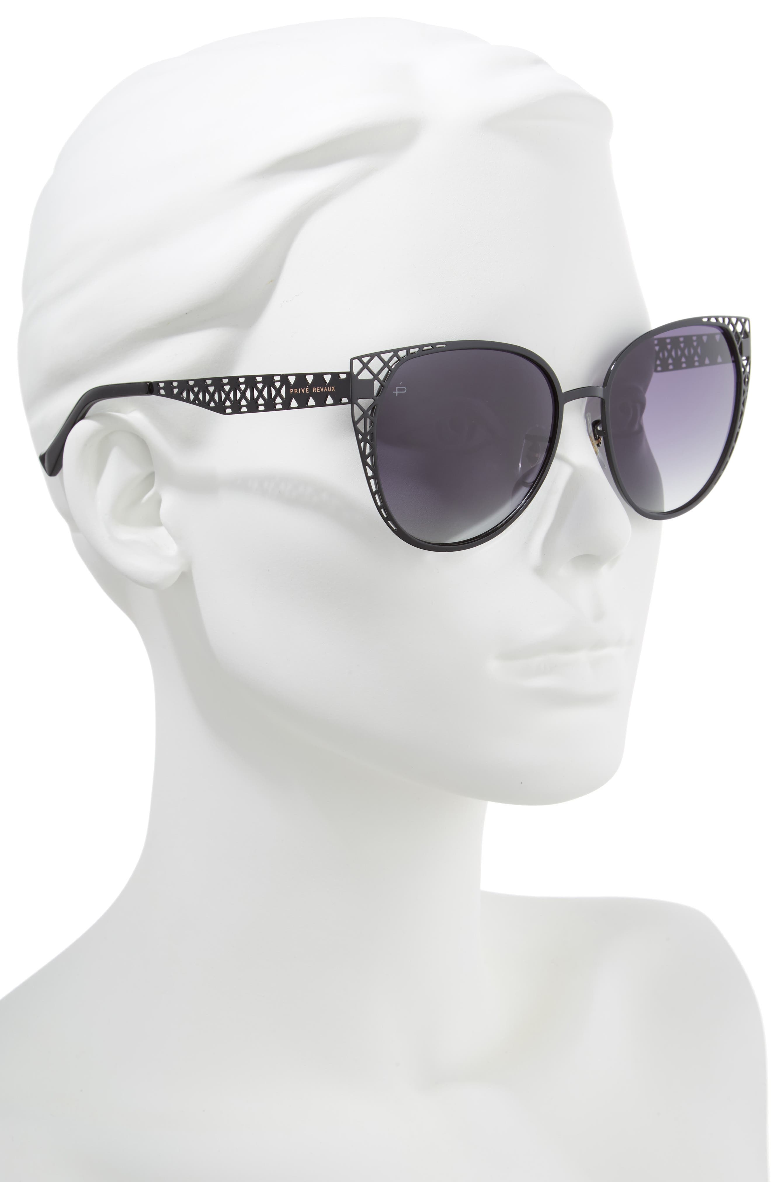 The Monarch 57mm Cat Eye Sunglasses,                             Alternate thumbnail 2, color,                             001