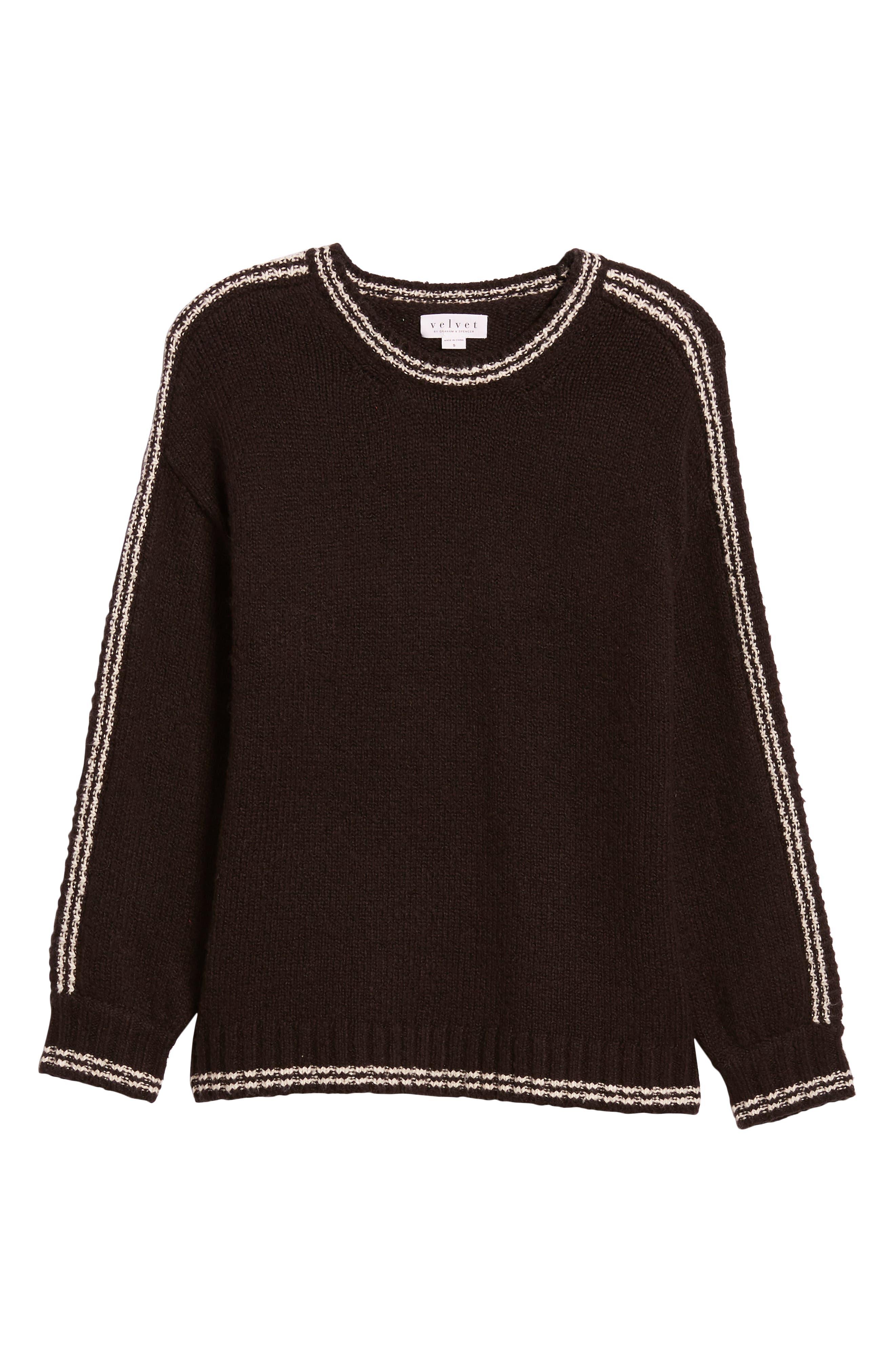 Stripe Sleeve Cotton Blend Sweater,                             Alternate thumbnail 6, color,                             BLACK