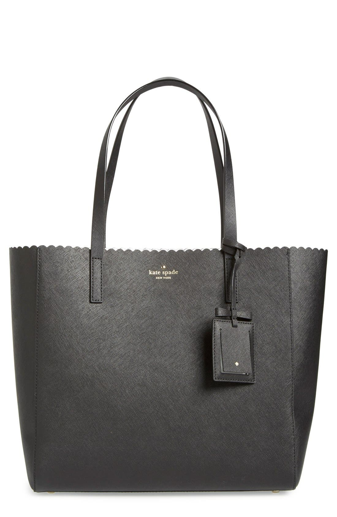 KATE SPADE NEW YORK,                             'cape drive - hallie' scalloped saffiano leather tote,                             Main thumbnail 1, color,                             002
