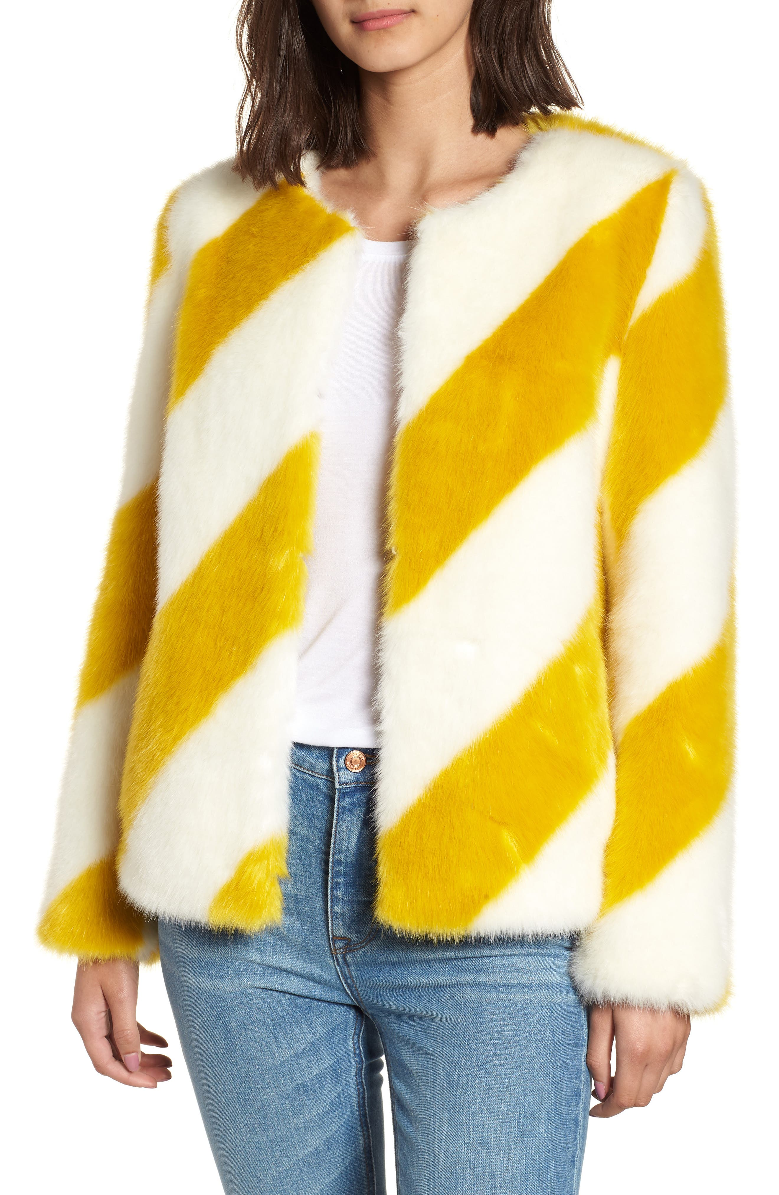Collarless Chubby Faux Fur Jacket,                         Main,                         color, IVORY/ MARIGOLD STRIPE