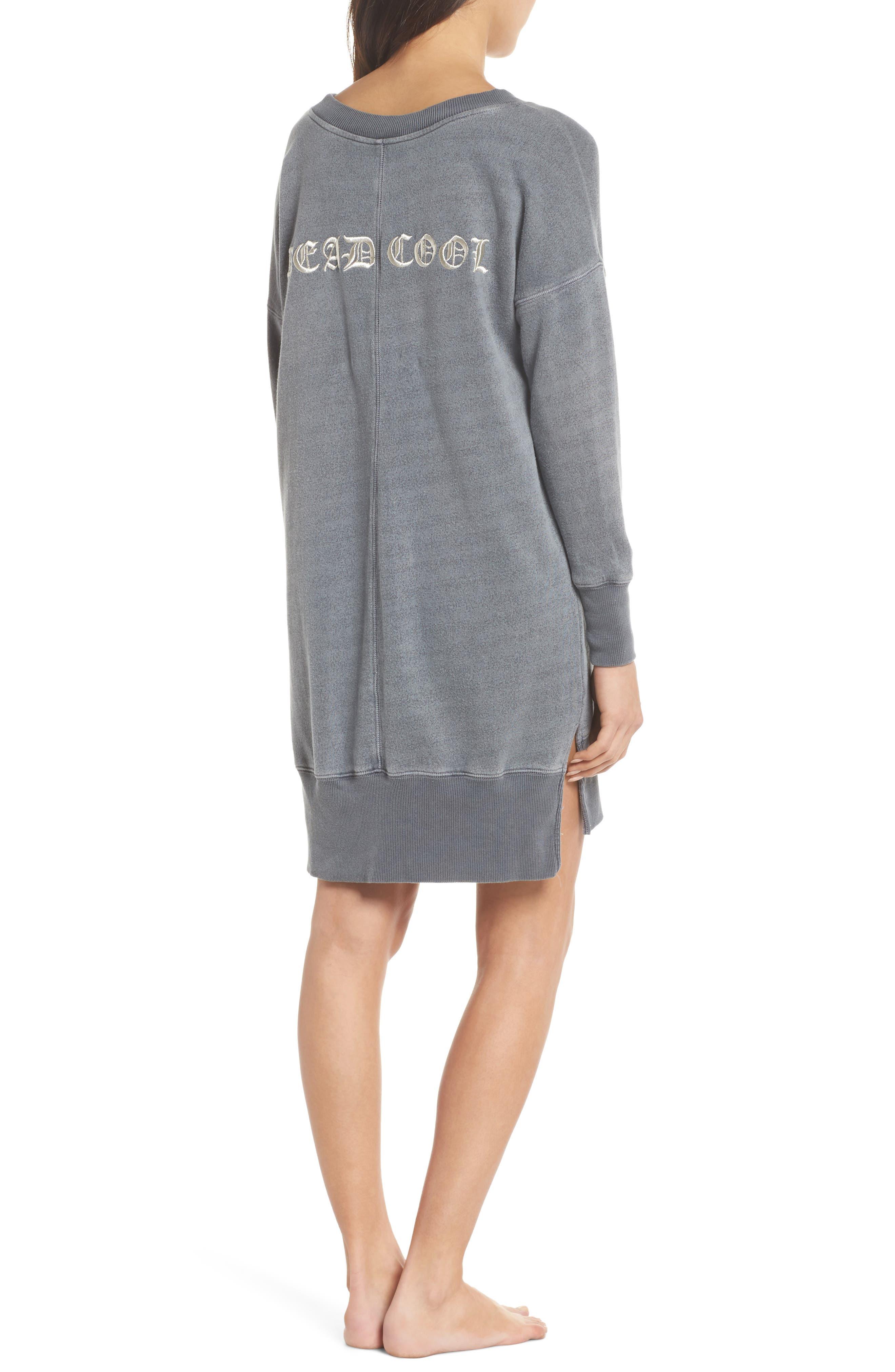 Lounge Sweatshirt Dress,                             Alternate thumbnail 2, color,                             FADED BLACK