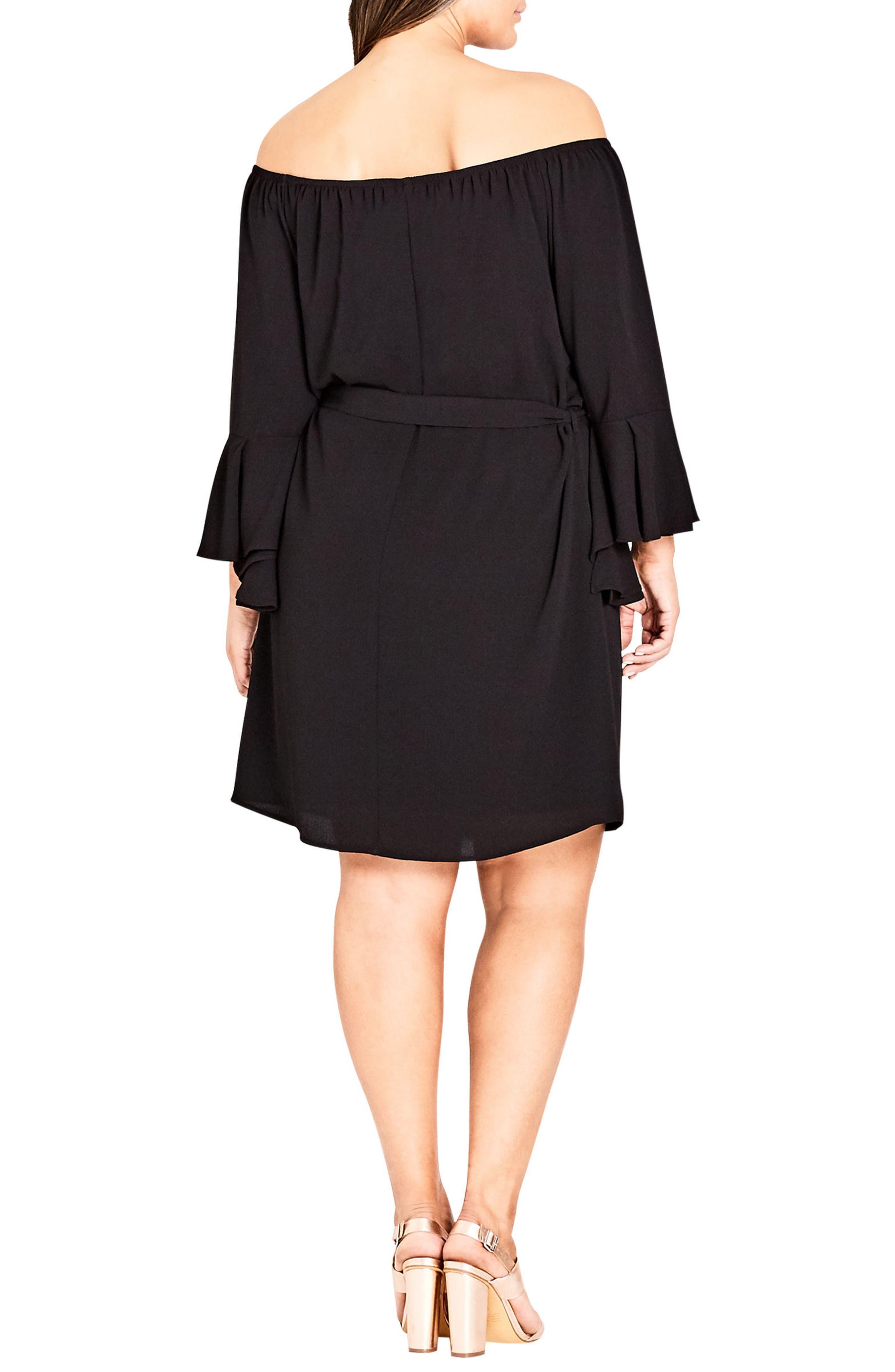 Sweet Ruffle Sleeve Tunic Dress,                             Alternate thumbnail 2, color,                             BLACK