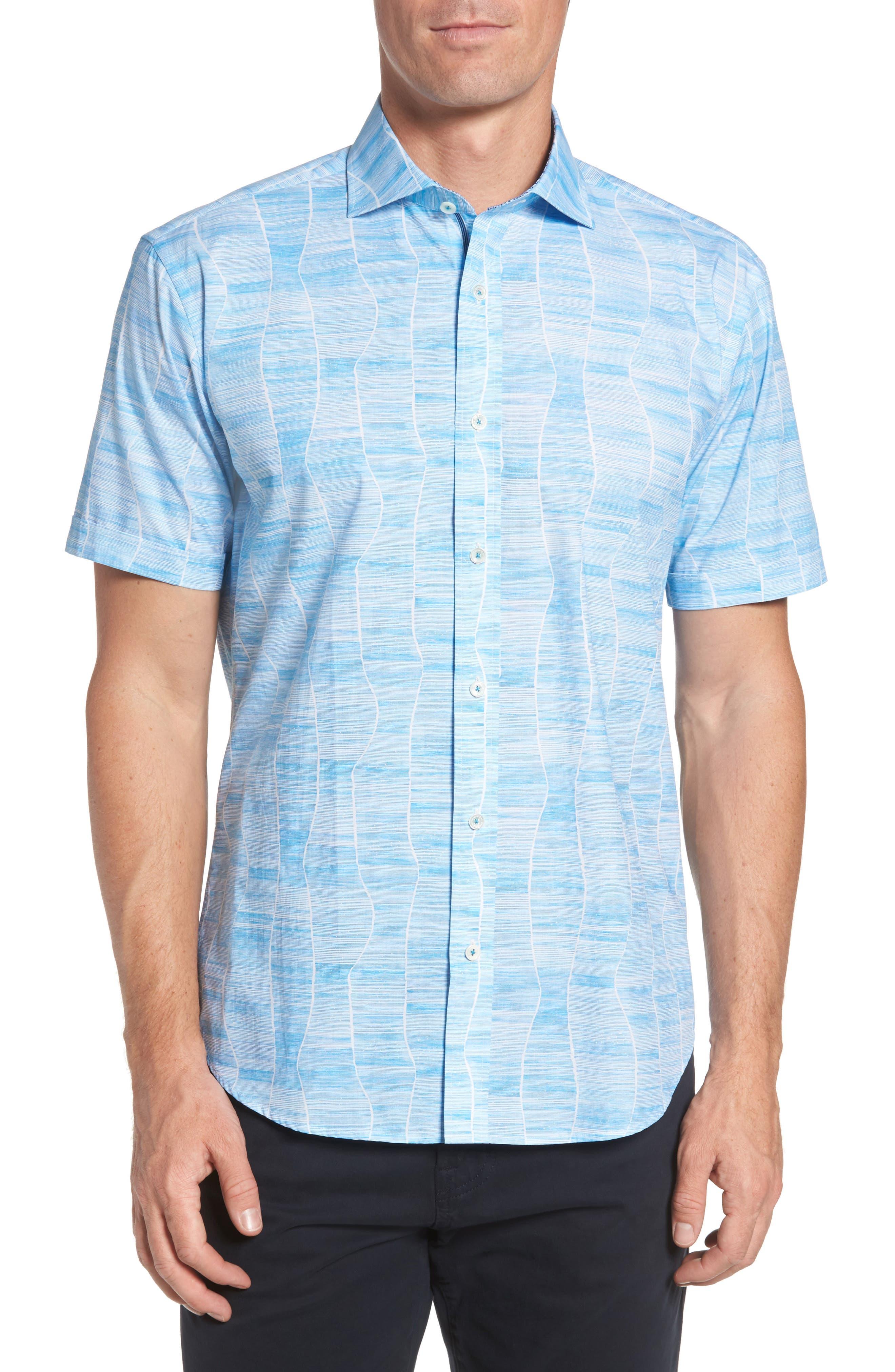 Shaped Fit Print Sport Shirt,                             Main thumbnail 1, color,                             420