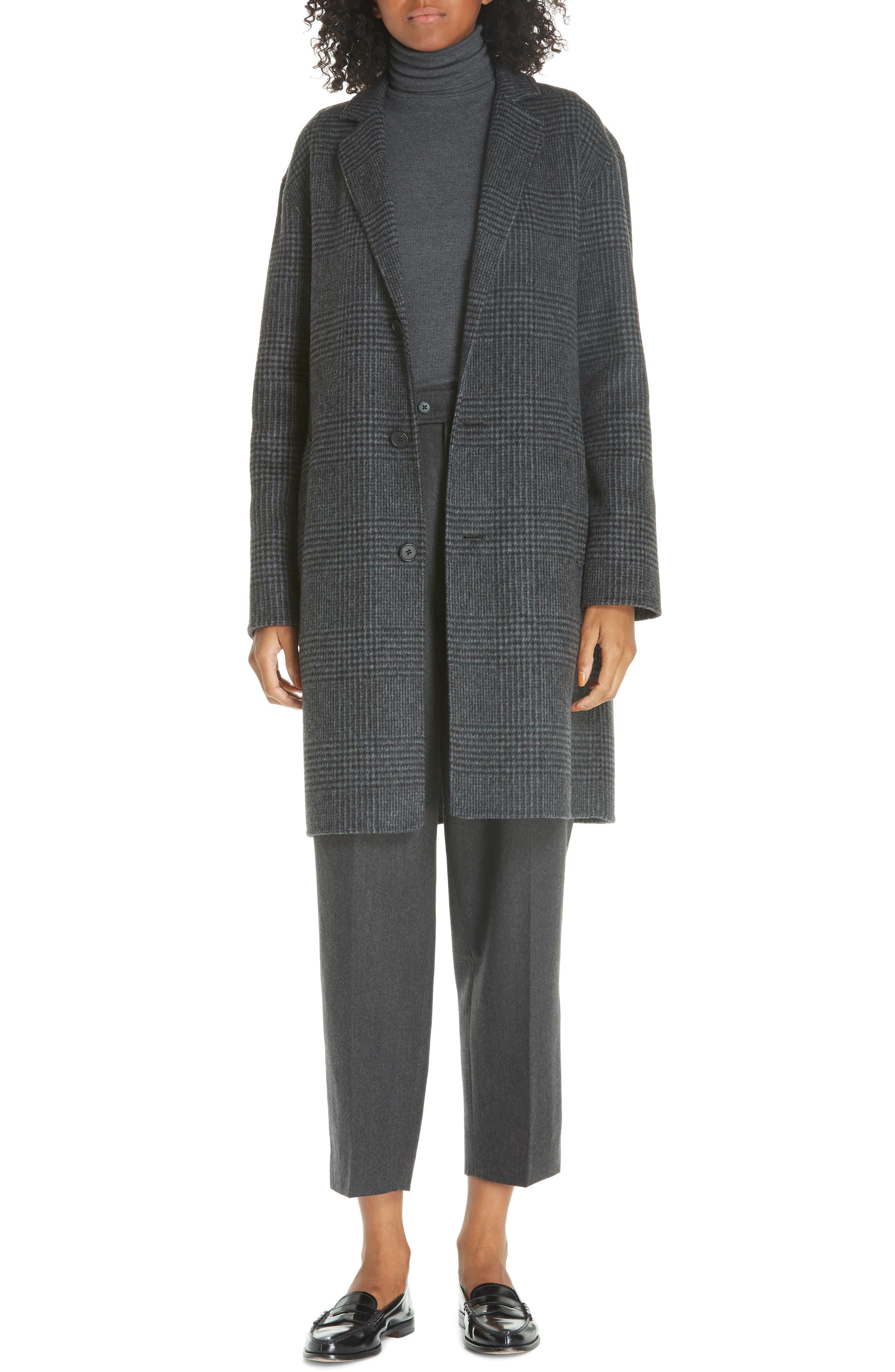 Plaid Wool Blend Coat,                             Alternate thumbnail 7, color,                             CHARCOAL GLEN PLAID