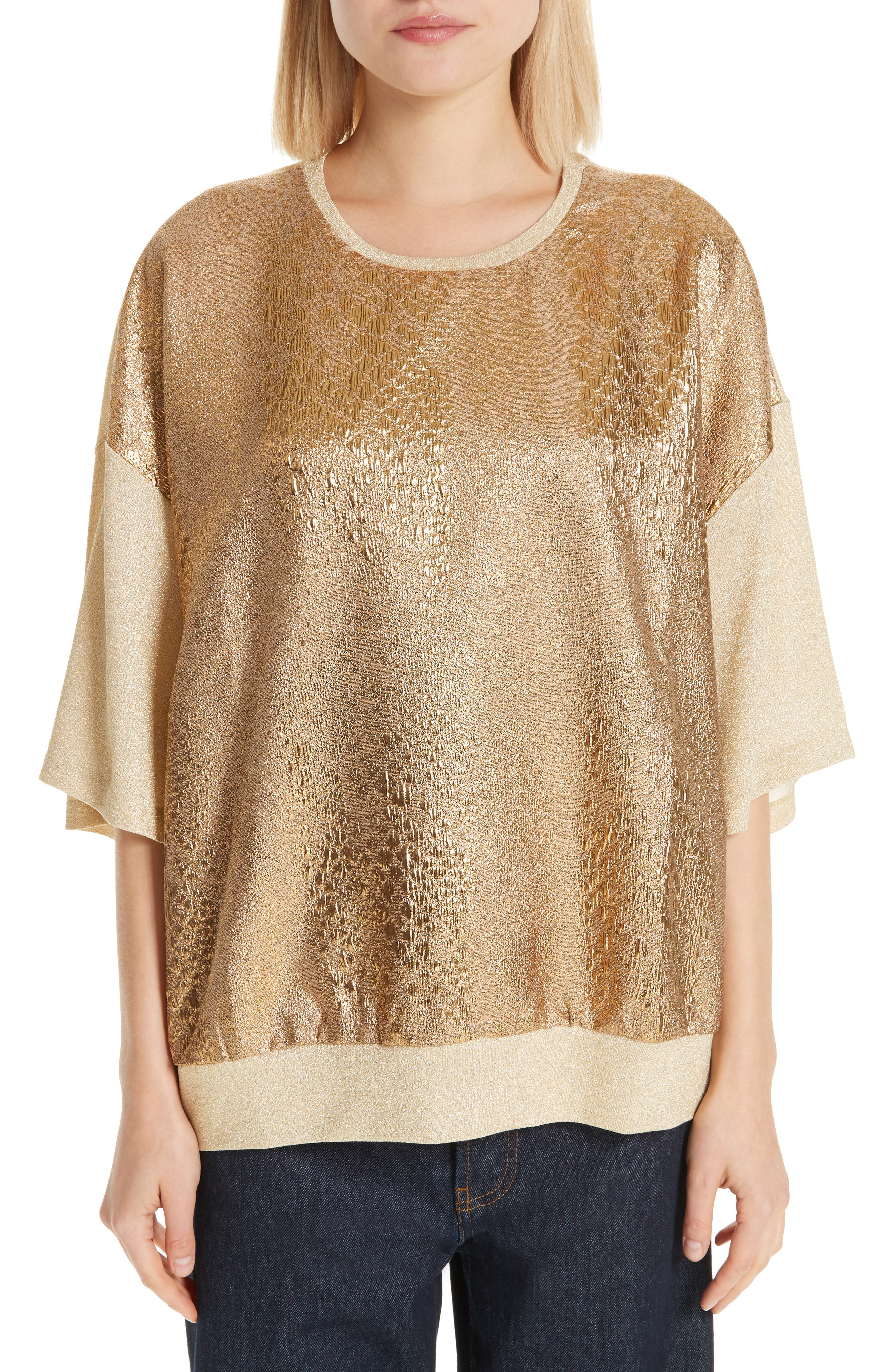 Metallic Front Knit Tee,                         Main,                         color, GOLD