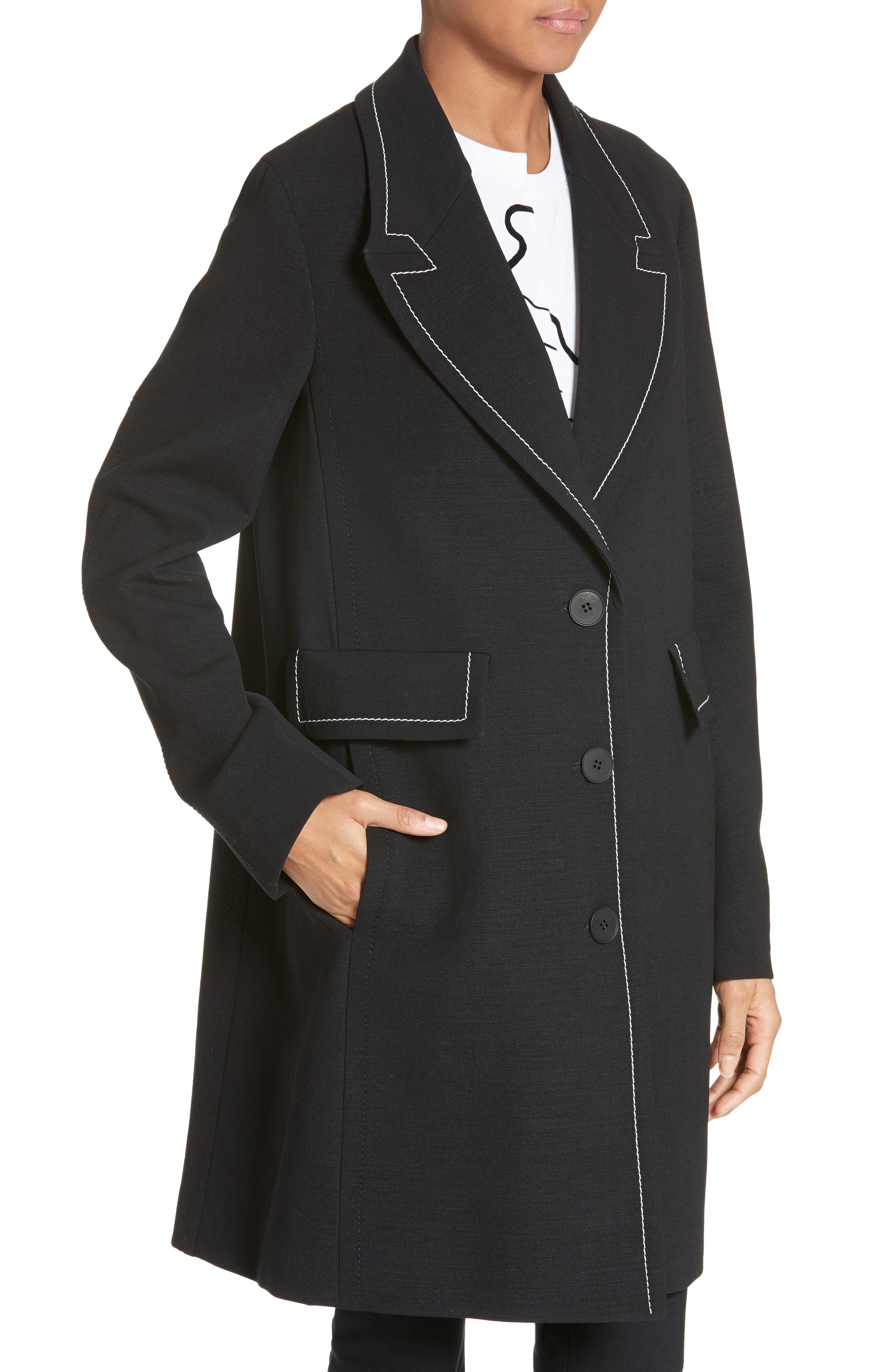 Marcelline Topstitch Double Face Wool Coat,                             Alternate thumbnail 4, color,                             001