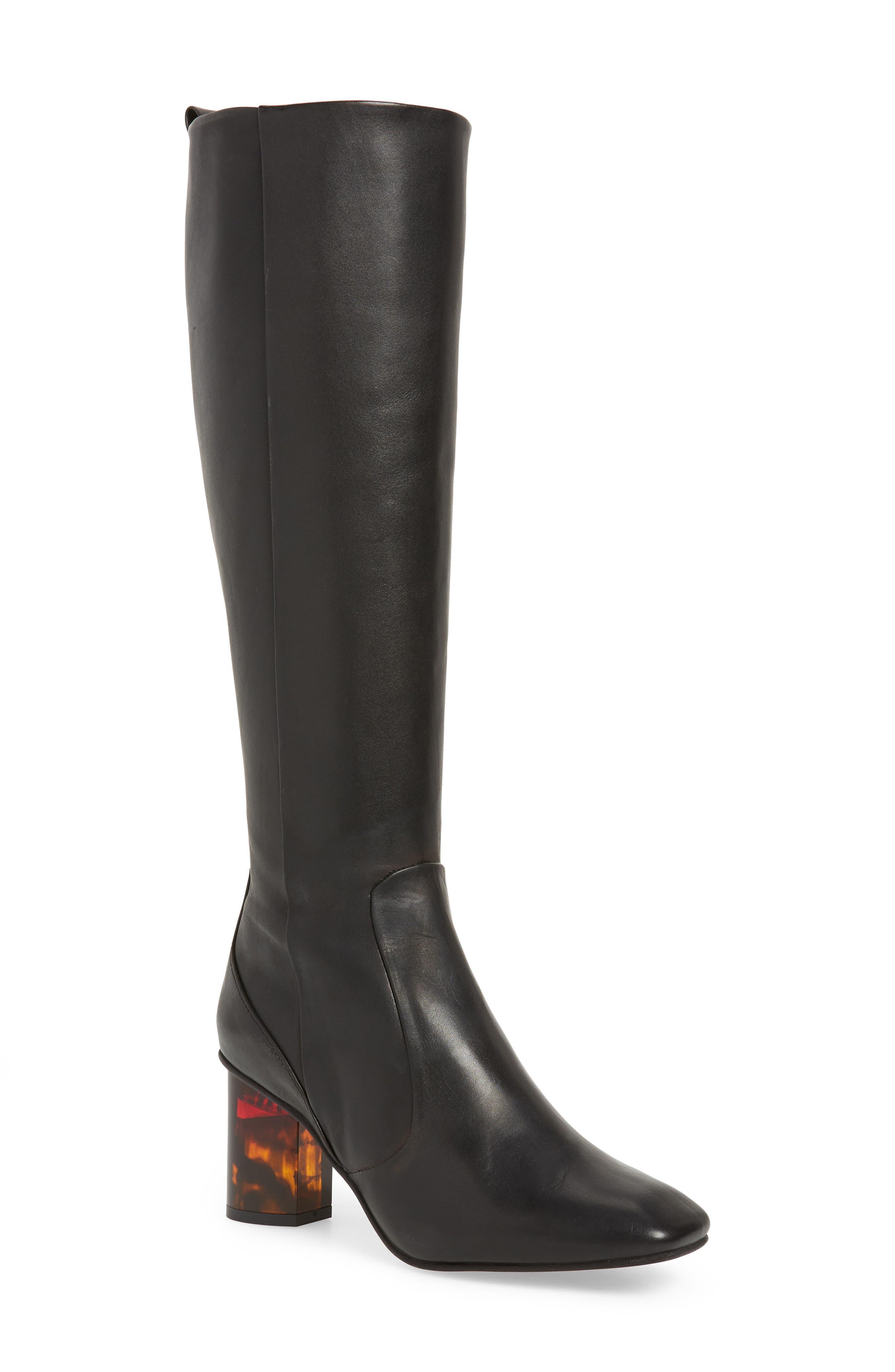 KURT GEIGER Women'S Stride Block-Heel Boots in Black Leather