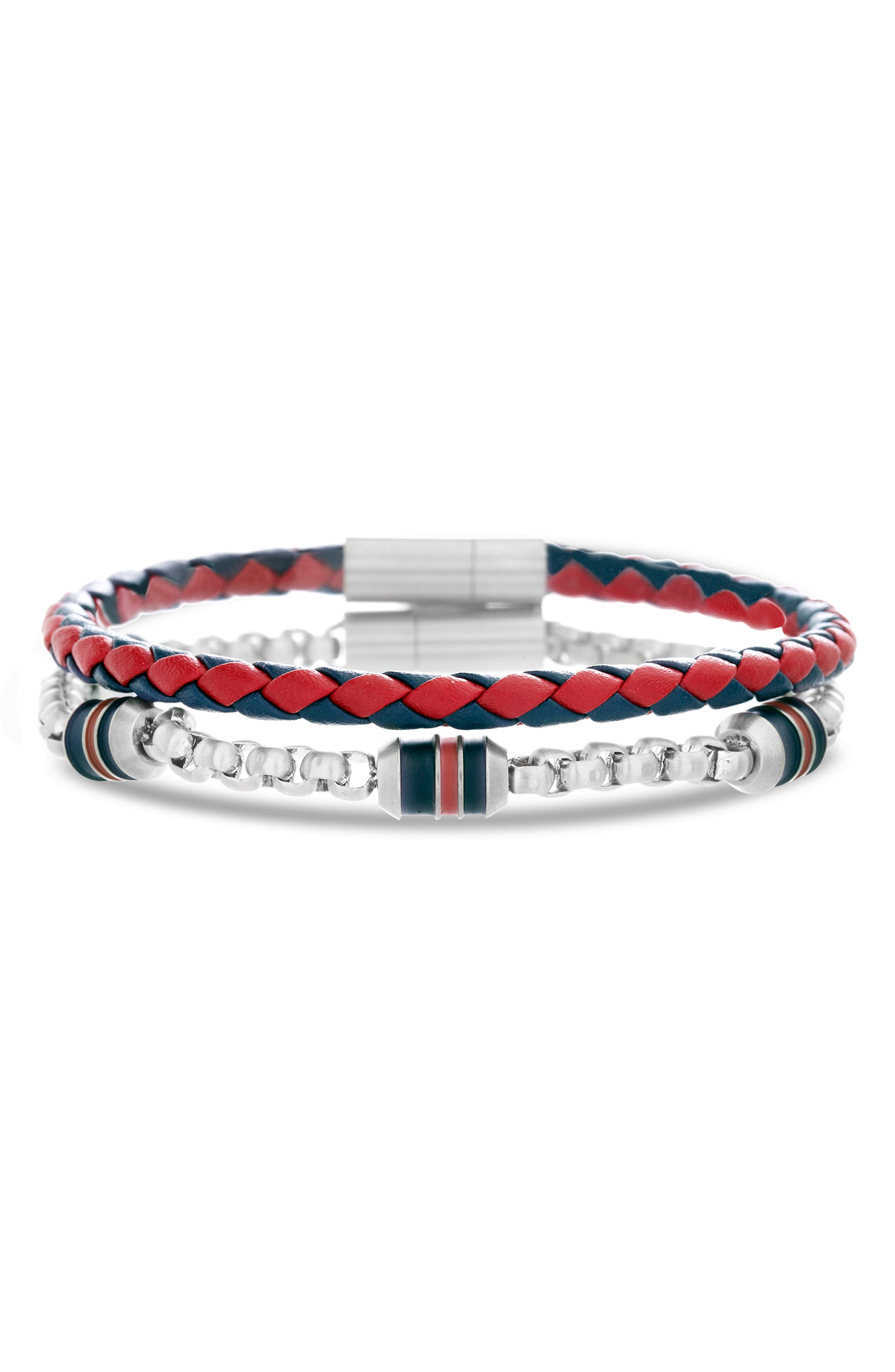 Leather & Chain Bracelet Set,                             Main thumbnail 1, color,                             RED/ BLACK