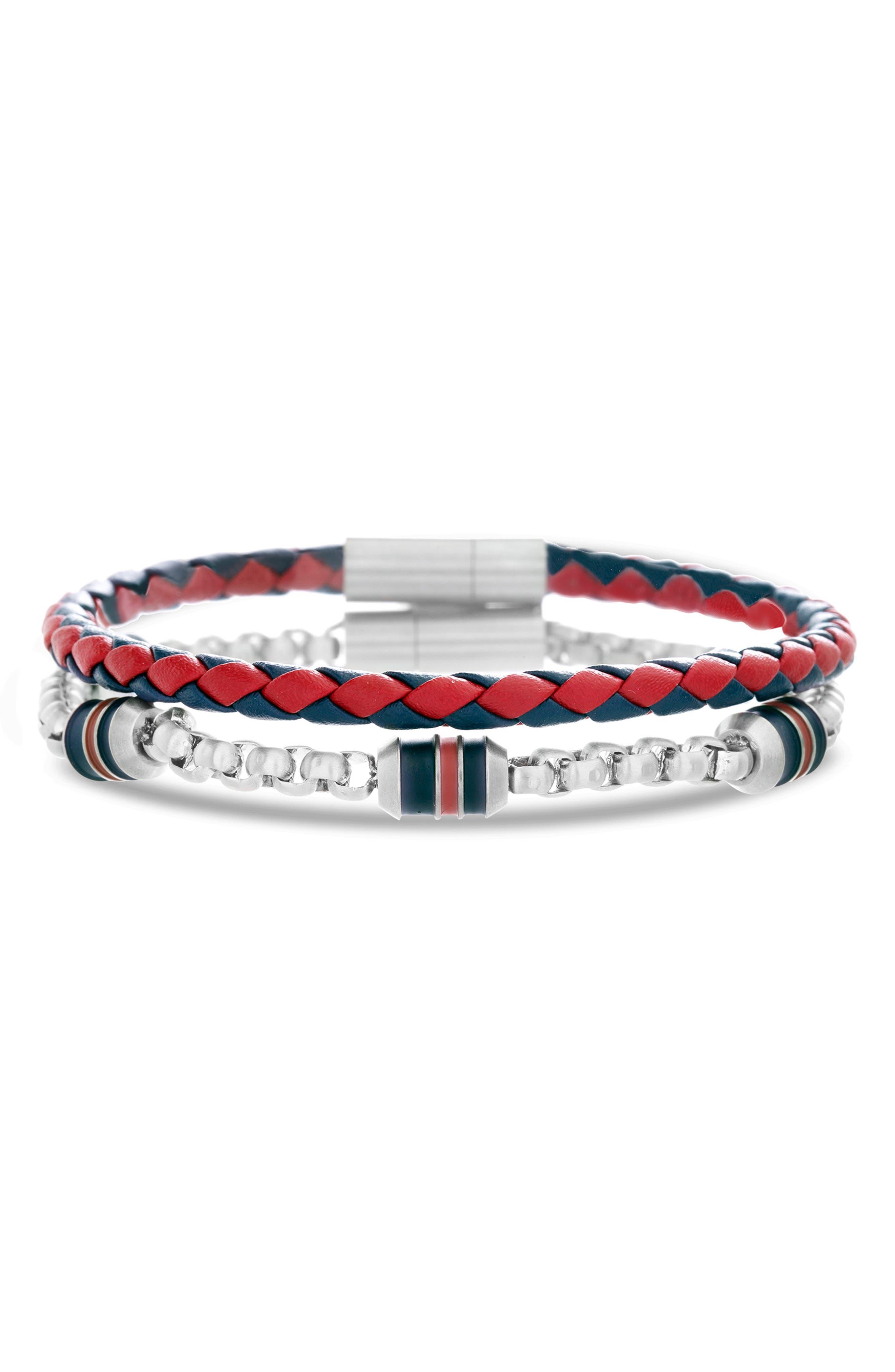 Leather & Chain Bracelet Set,                         Main,                         color, RED/ BLACK