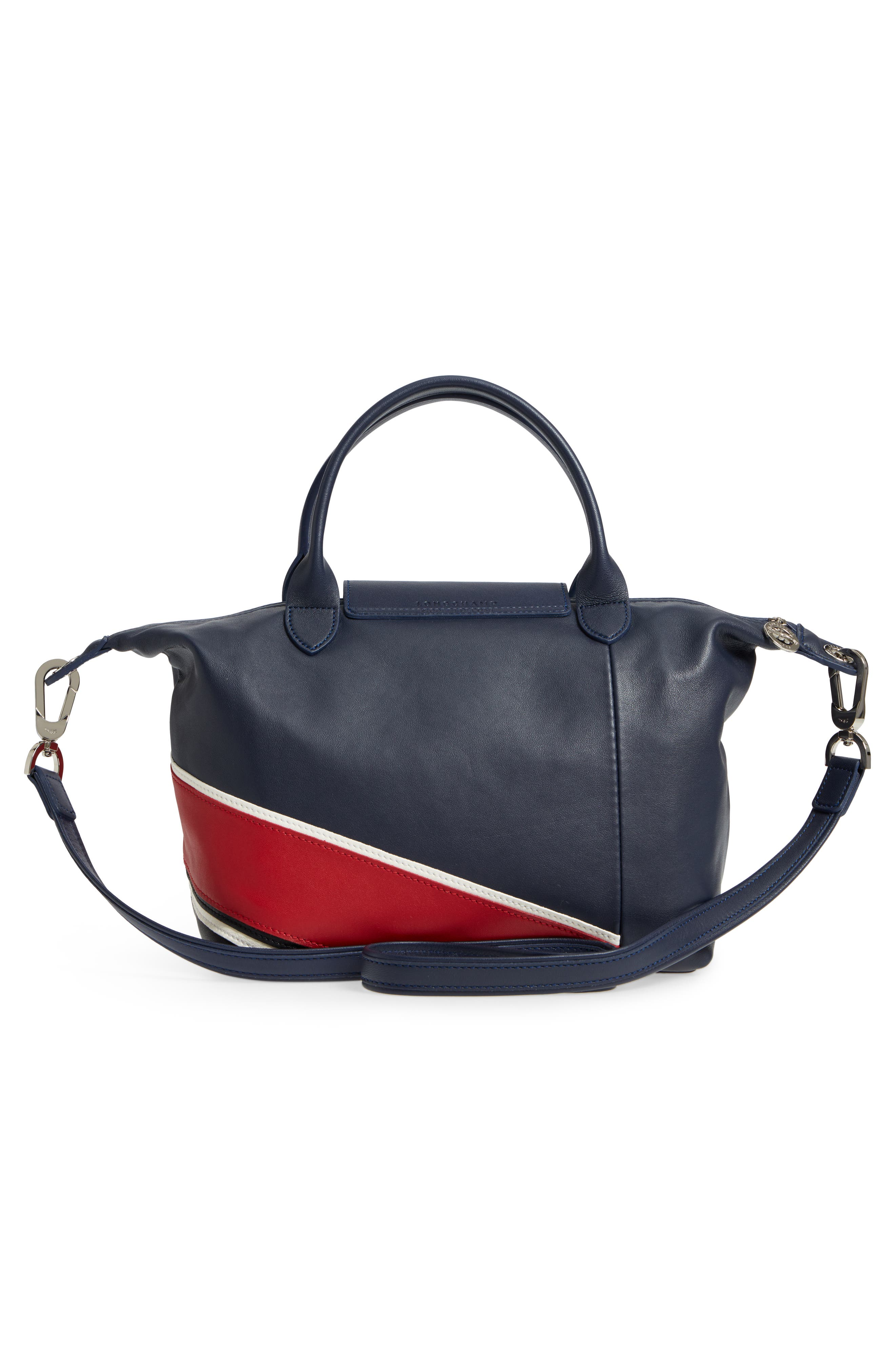 Small Le Pliage Cuir - Chevron Top Handle Leather Tote,                             Alternate thumbnail 3, color,                             622