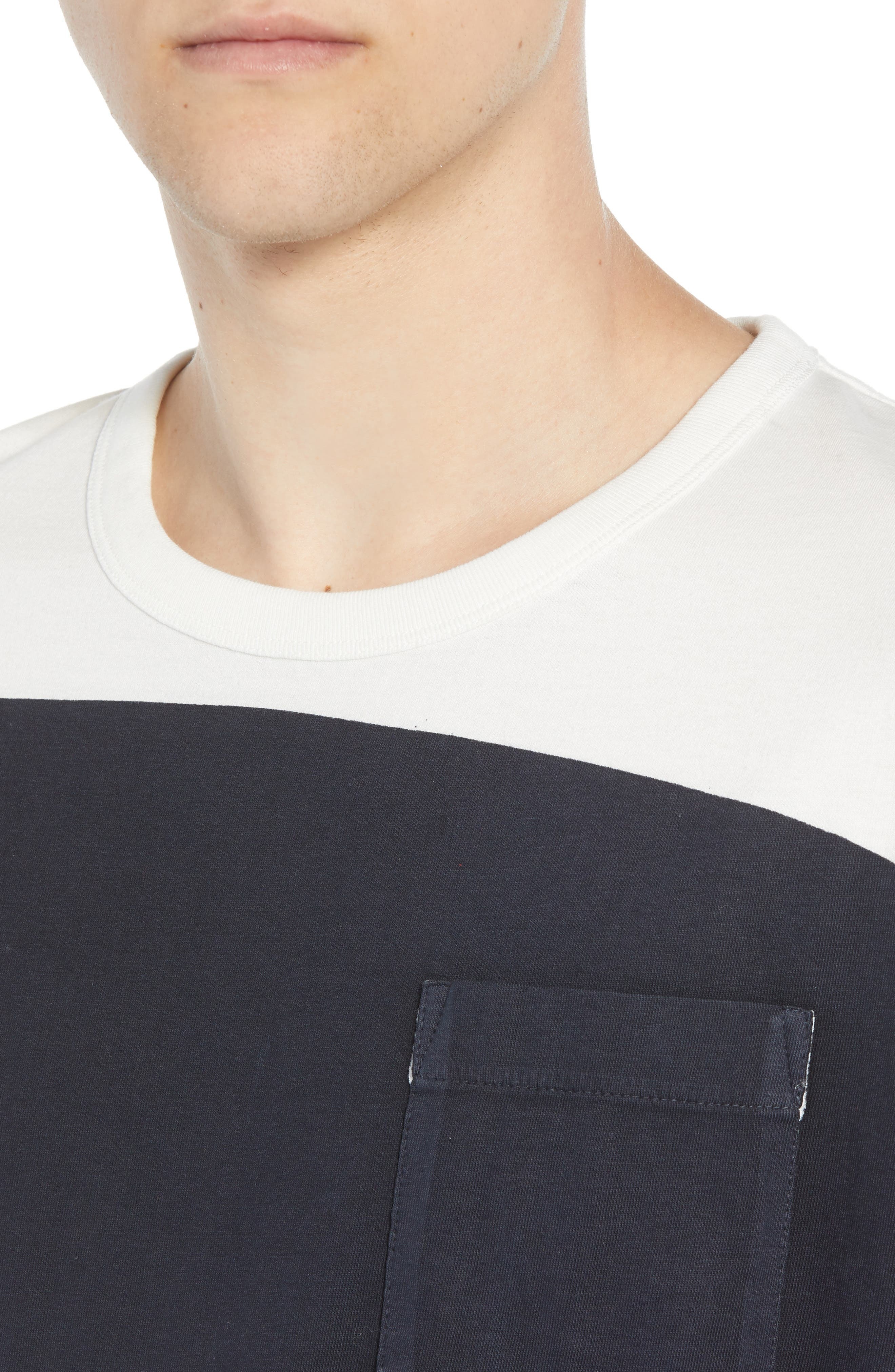 Asymmetrical Colorblock Pocket T-Shirt,                             Alternate thumbnail 4, color,                             CUBA WHITE UTILITY BLUE