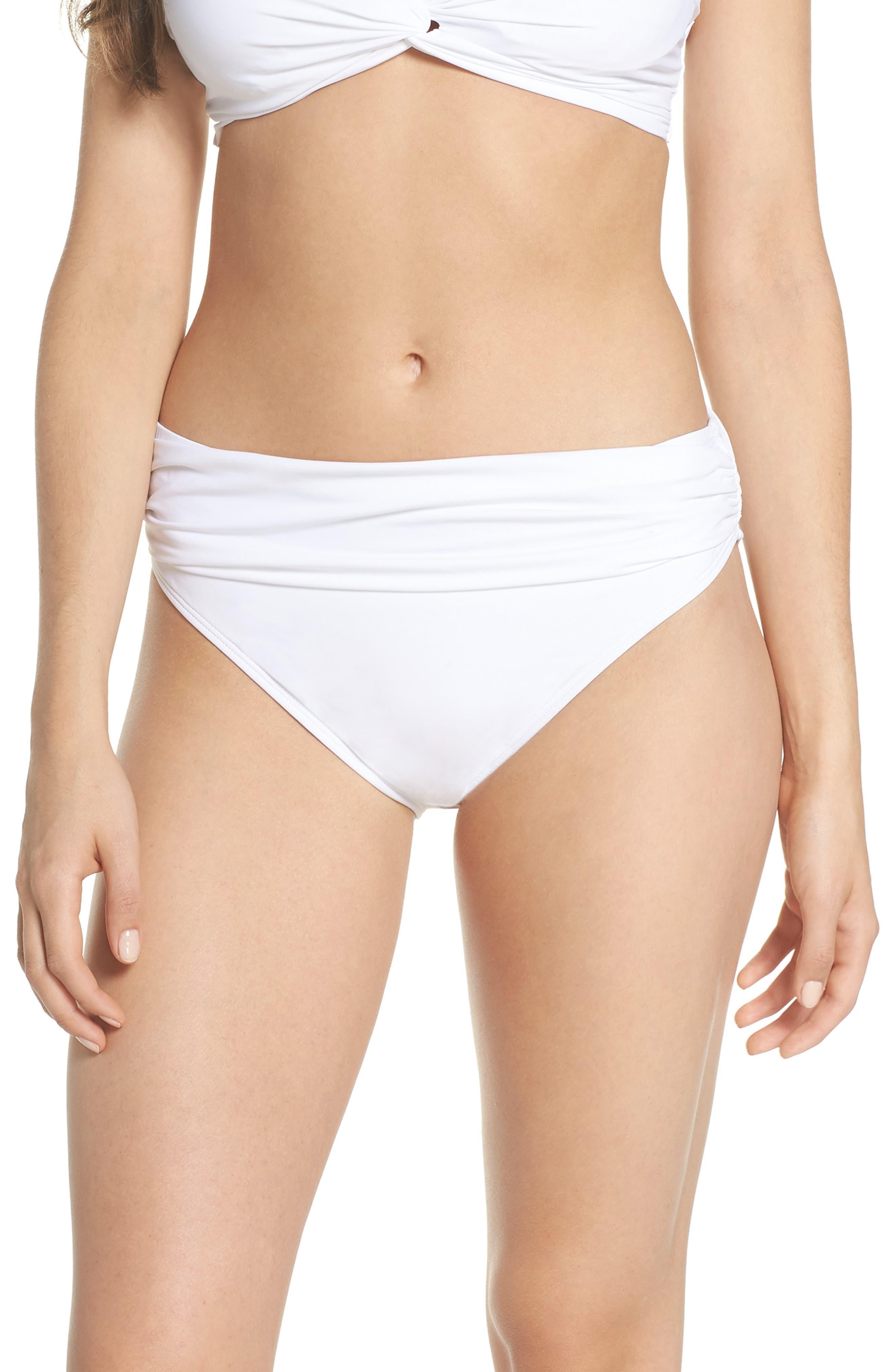 'Pearl' High Waist Bikini Bottoms,                         Main,                         color, 100