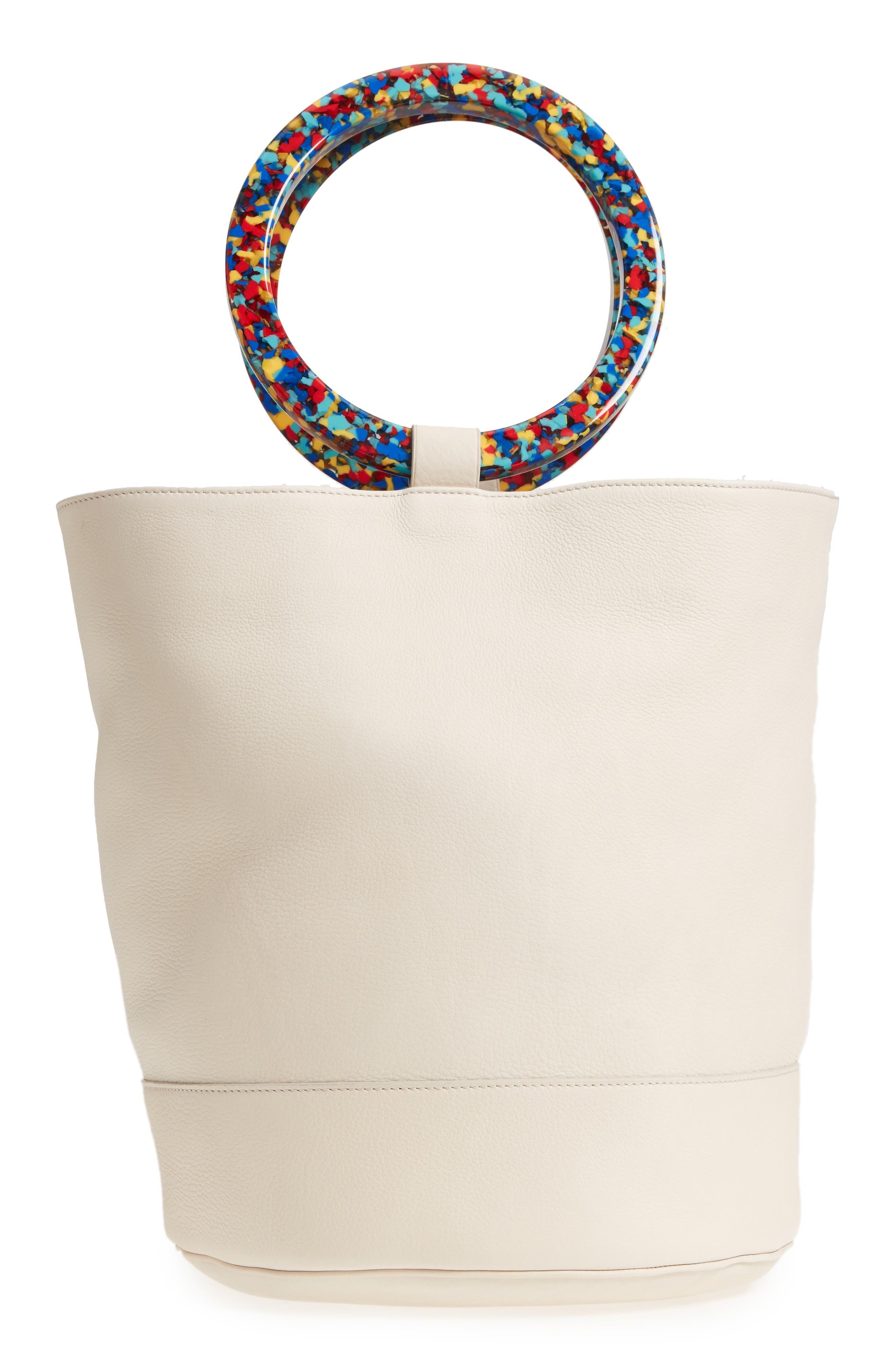 Confetti Handle Bonsai Leather Bucket Bag,                             Alternate thumbnail 3, color,                             900