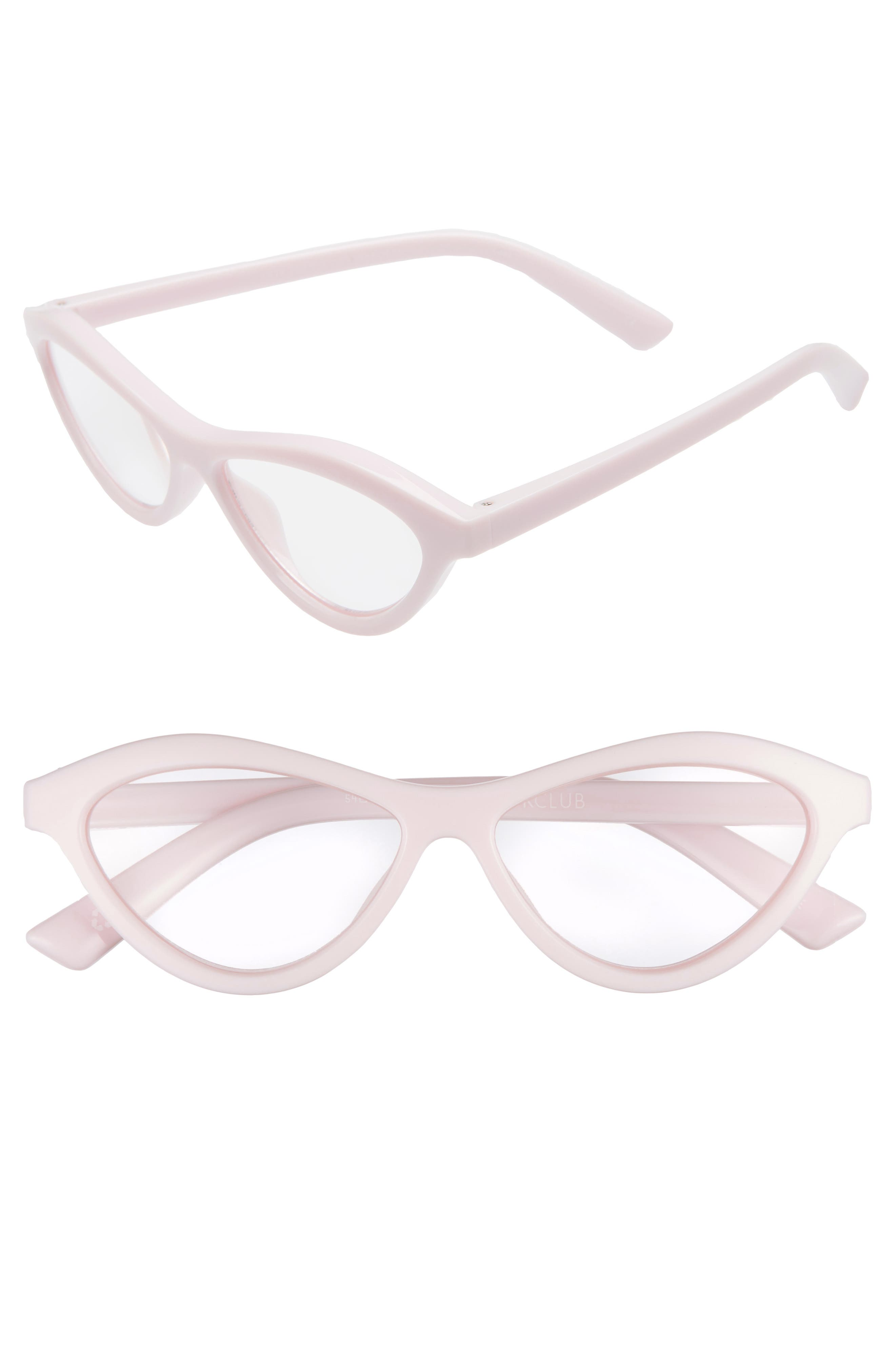 Fifty Fails a Day 54mm Reading Glasses,                             Main thumbnail 1, color,                             POWDER PINK