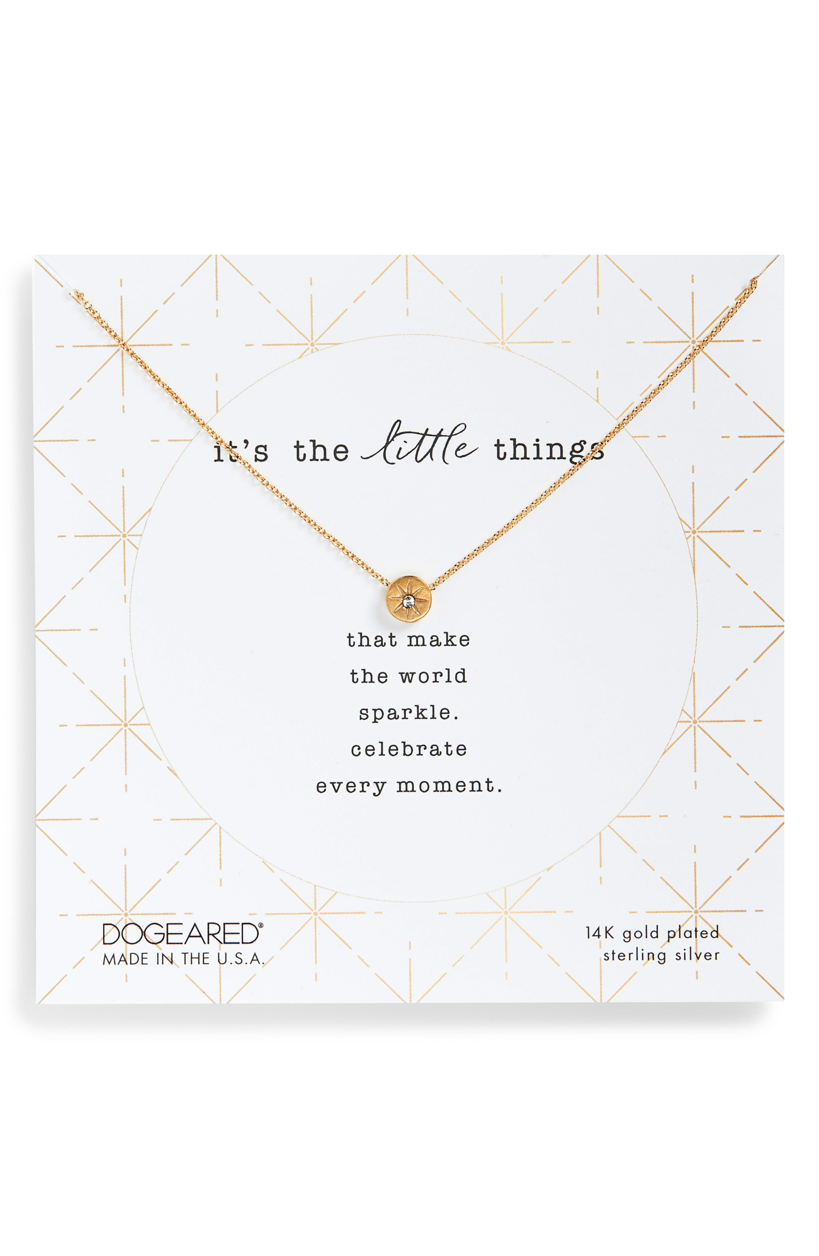 DOGEARED It'S The Little Things Crystal Pendant Necklace in Gold