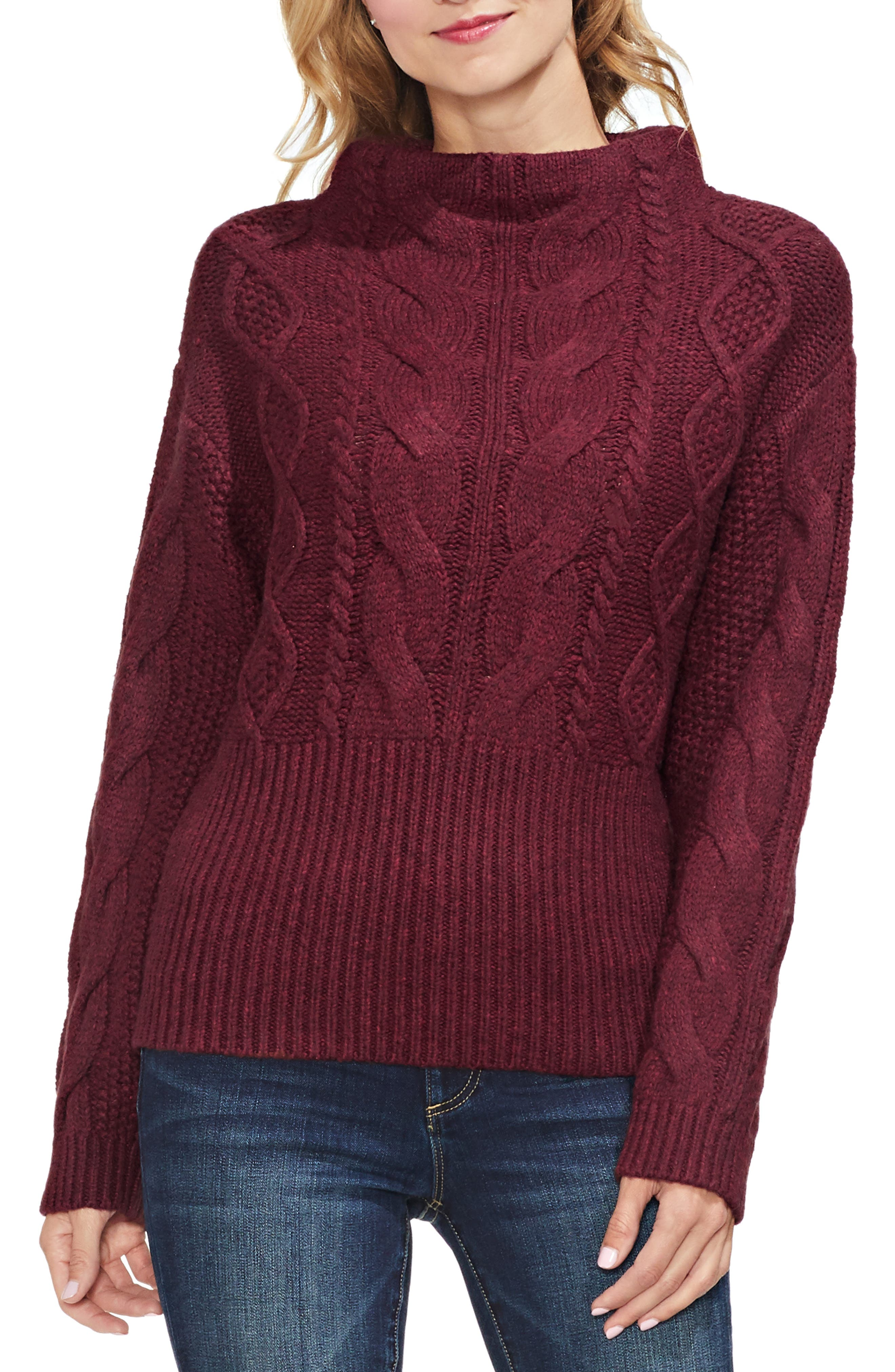 Cotton Blend Cable Knit Sweater,                             Main thumbnail 1, color,                             MANOR RED